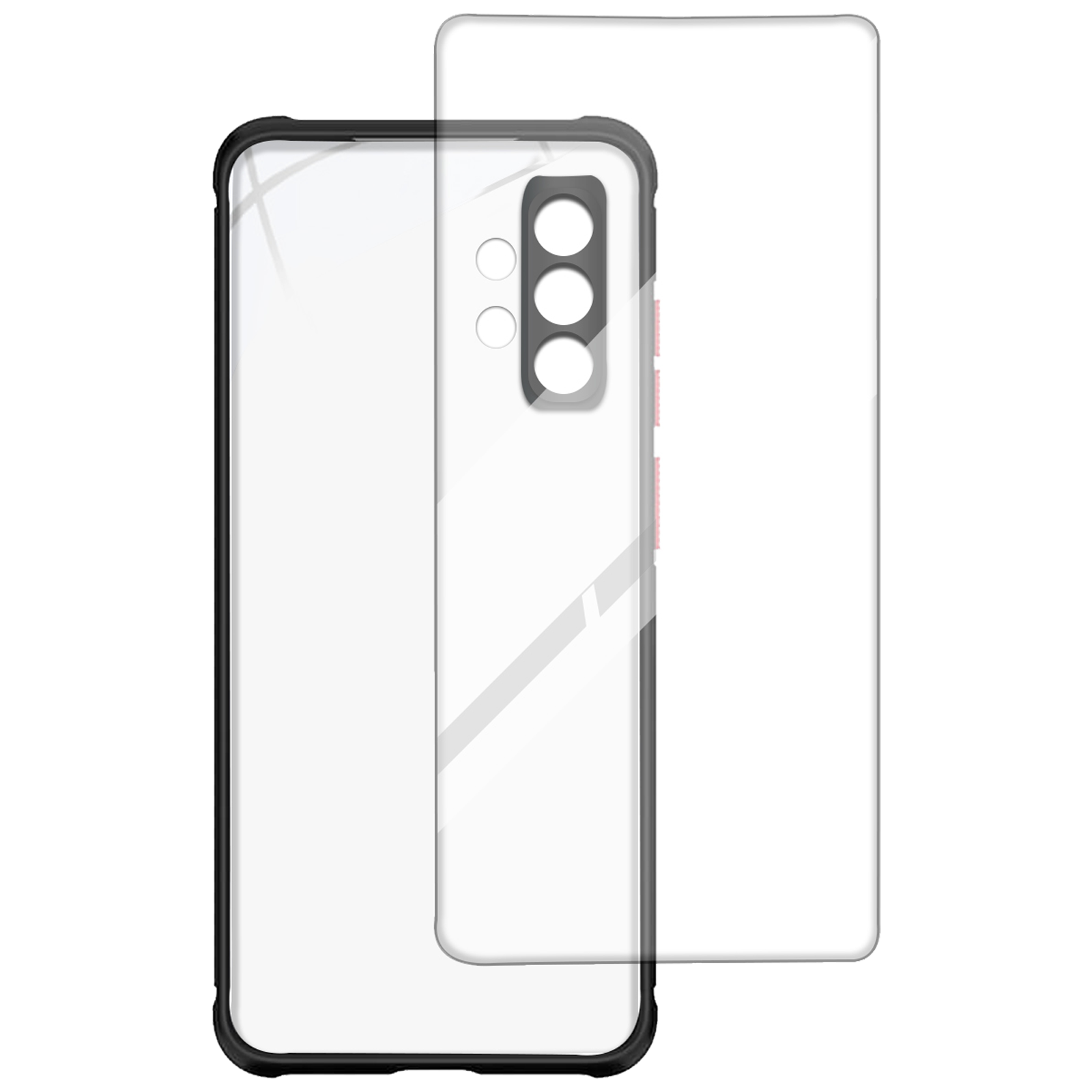 Arrow Hybrid Back Case and Screen Protector Bundle For Samsung Galaxy A32 (Ultra Transparent Visibility, AR-973, Black)_1