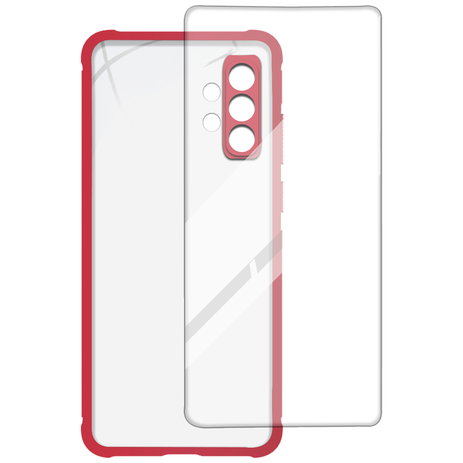 Arrow Hybrid Back Case and Screen Protector Bundle For Samsung Galaxy A32 (Ultra Transparent Visibility, AR-975, Red)_1