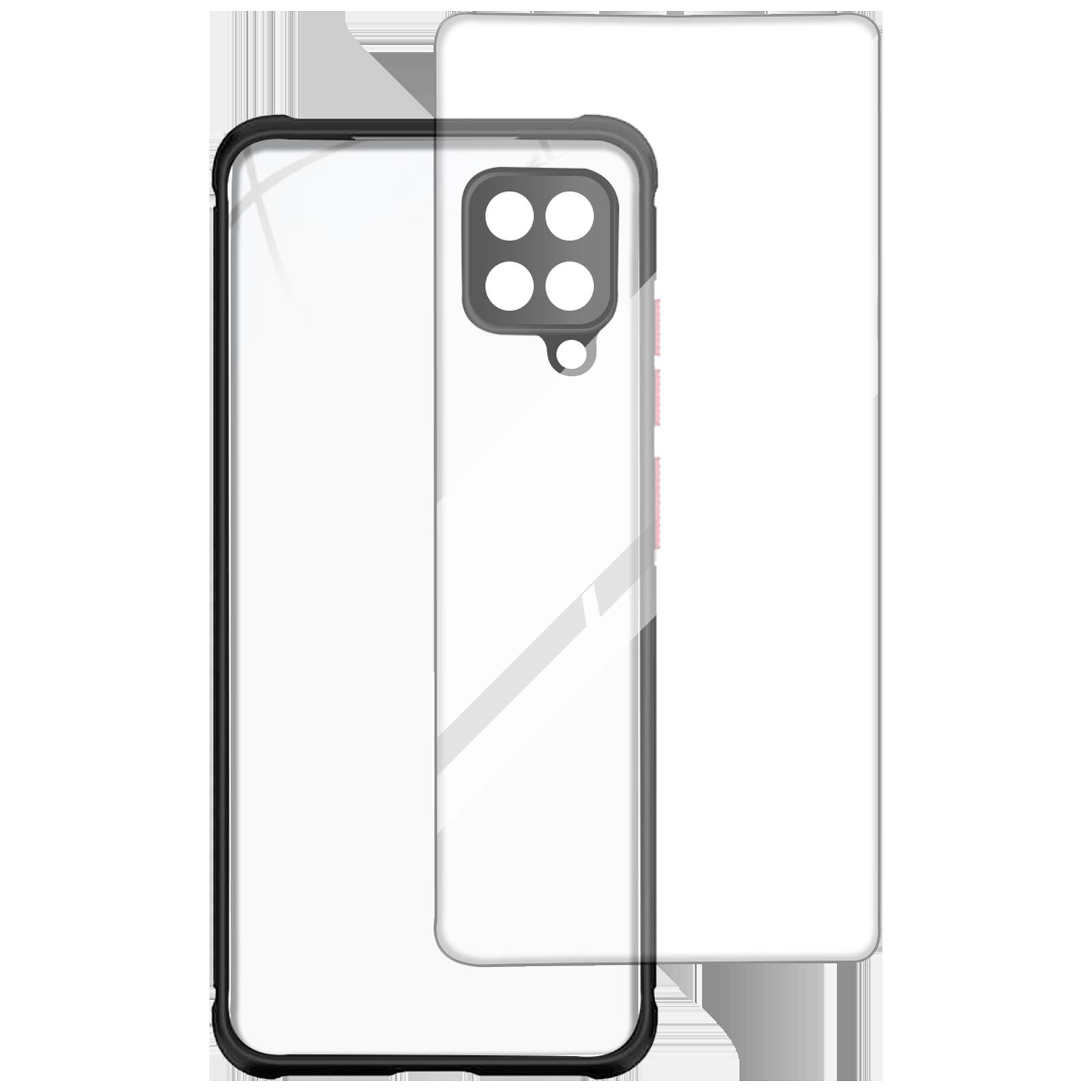 Arrow Hybrid Back Case and Screen Protector Bundle For Samsung Galaxy A12 (Ultra Transparent Visibility, AR-1048, Black)_1
