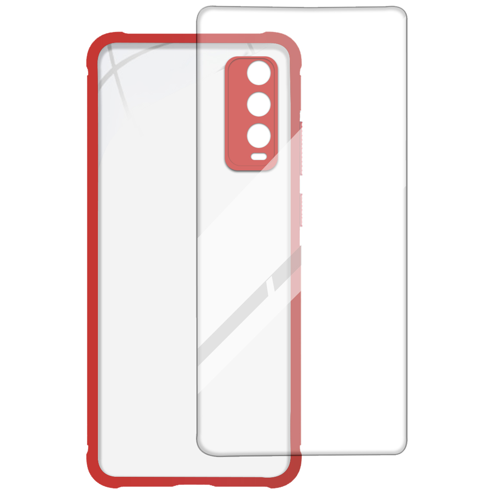 Arrow Hybrid Back Case and Screen Protector Bundle For Vivo Y20G (Ultra Transparent Visibility, AR-995, Red)_1