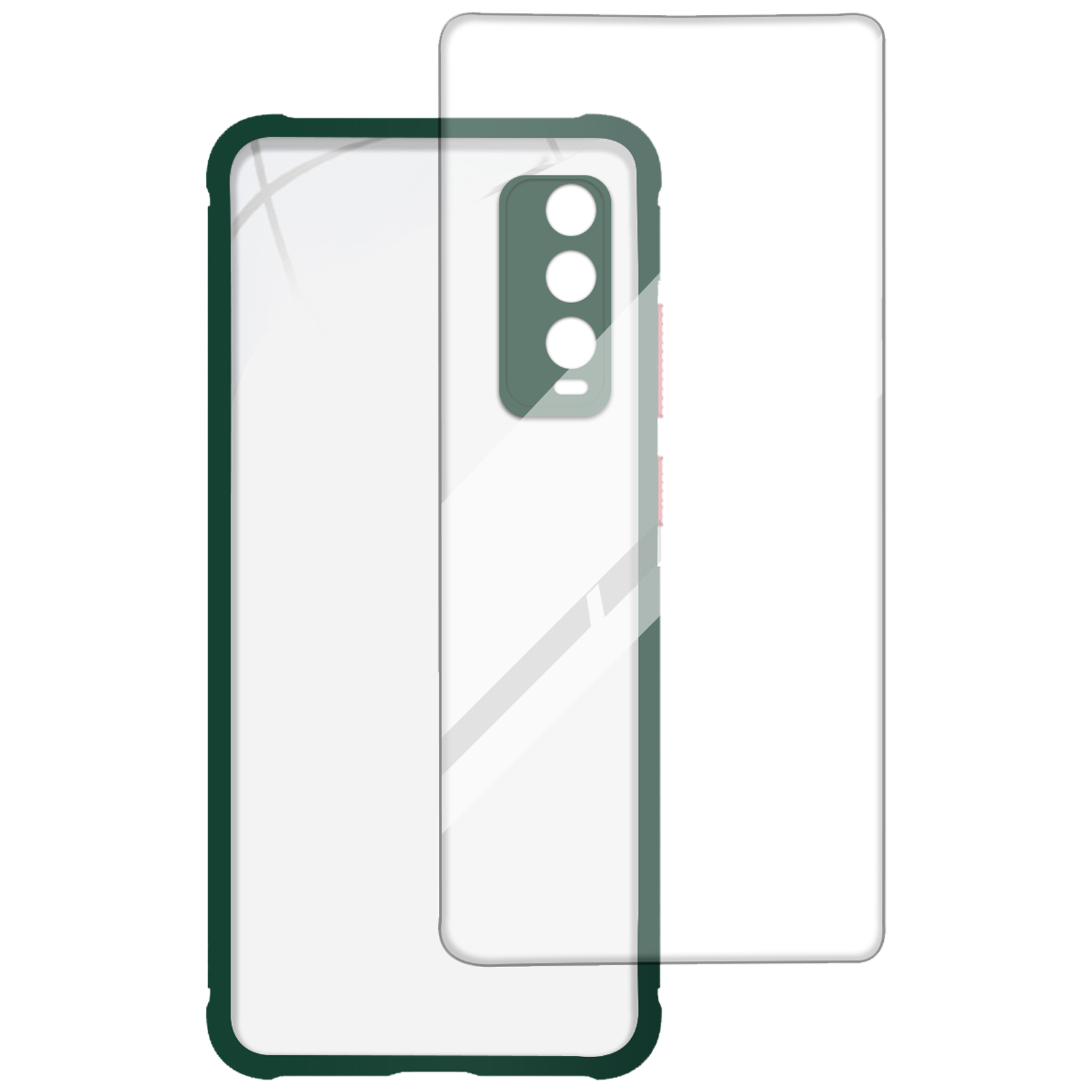 Arrow Hybrid Back Case and Screen Protector Bundle For Vivo Y20G (Ultra Transparent Visibility, AR-996, Dark Green)_1
