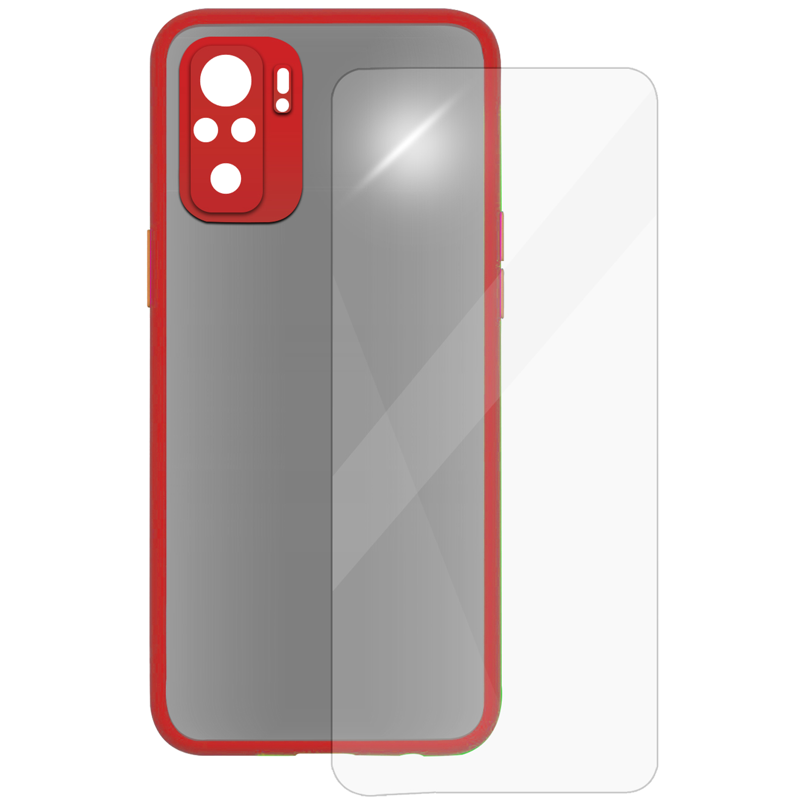 Arrow Camera Duplex Back Case and Screen Protector Bundle For Xiaomi Redmi Note 10 (Ultra Transparent Visibility, AR-1035, Red)_1