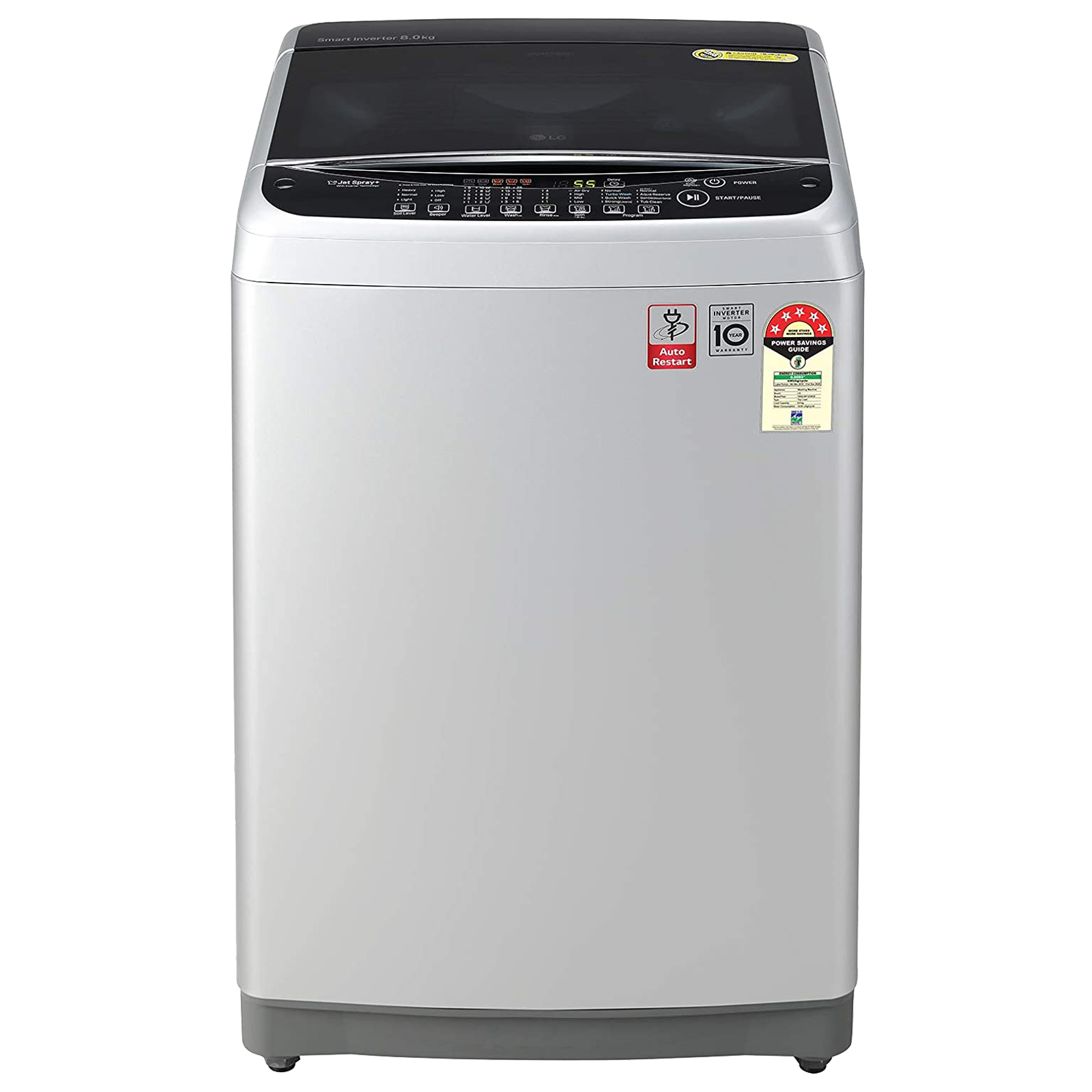 LG 8 kg 5 Star Fully Automatic Top Load Washing Machine (Smart Diagnosis, T80SJSF1Z.ASFQEIL, Middle Free Silver)_1