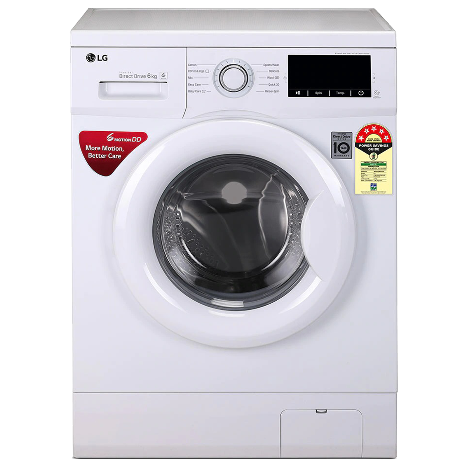 LG 6 kg 5 Star Fully Automatic Front Load Washing Machine (Smart Diagnosis, FHM1006ZDW.ABWQEIL, White)_1