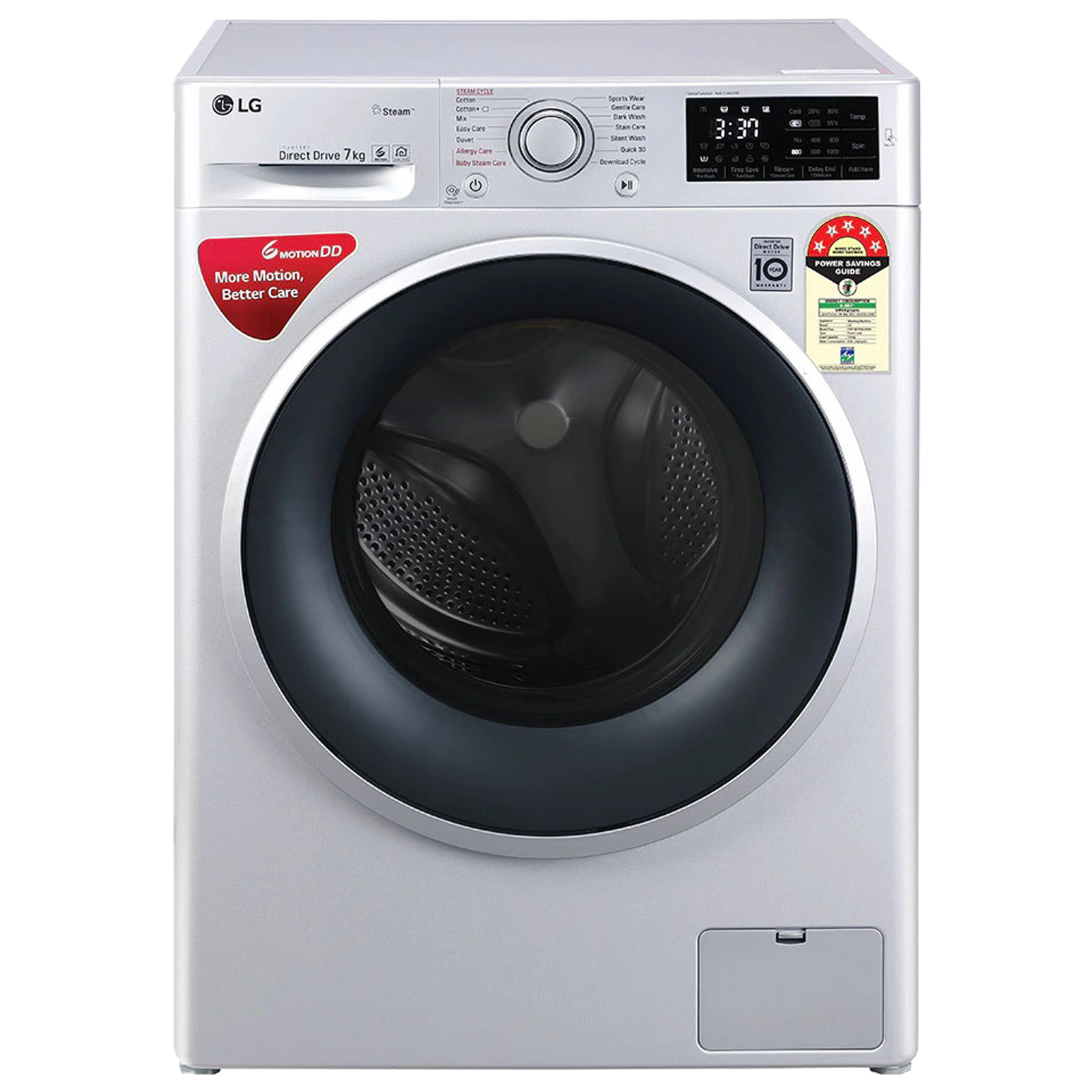 LG 7 kg 5 Star Fully Automatic Front Load Washing Machine (Smart Diagnosis, FHT1207ZNL.ALSQEIL, Silver)_1