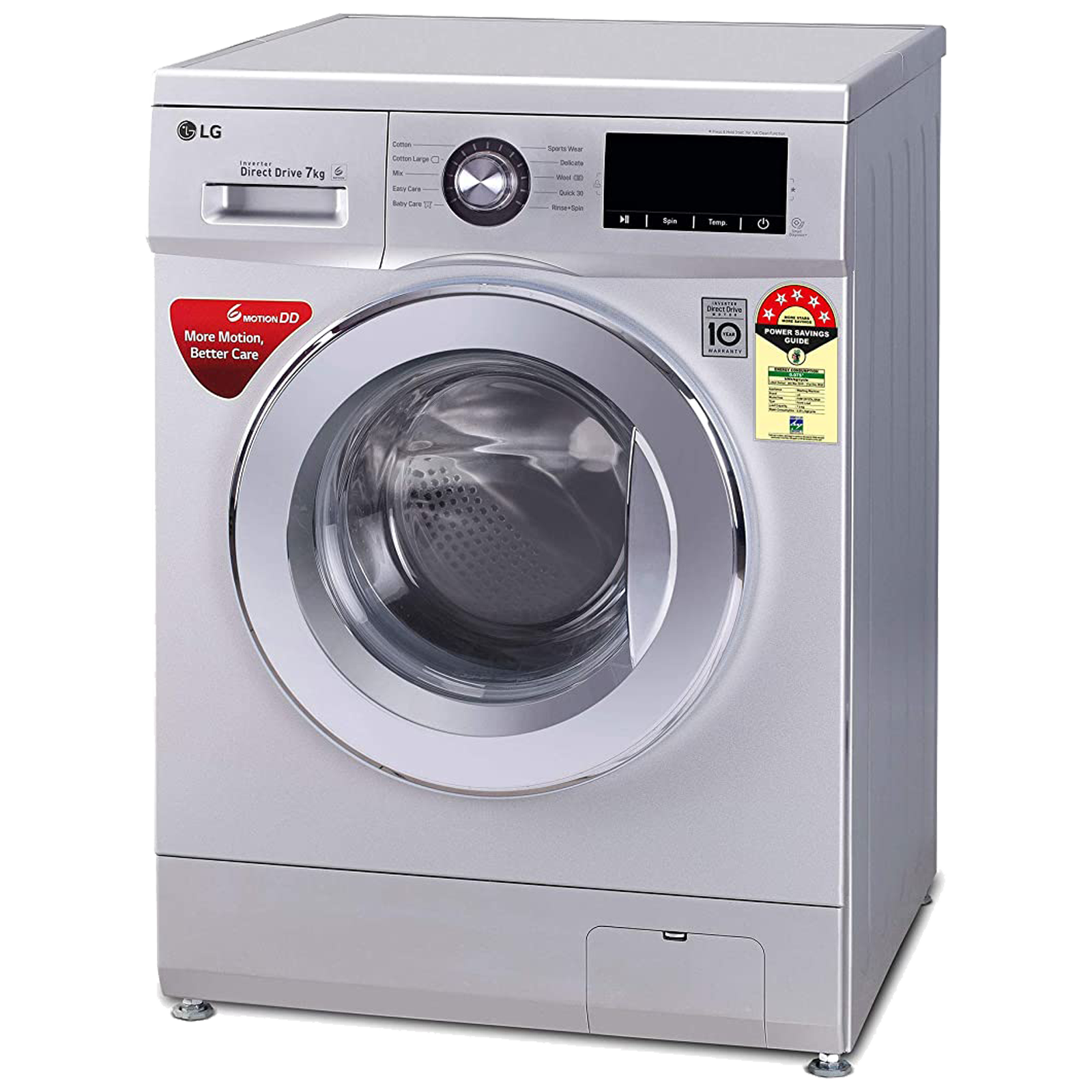 LG 7 kg 5 Star Fully Automatic Front Load Washing Machine (Smart Diagnosis, FHM1207ZDL.ALSQEIL, Luxury Silver) 3