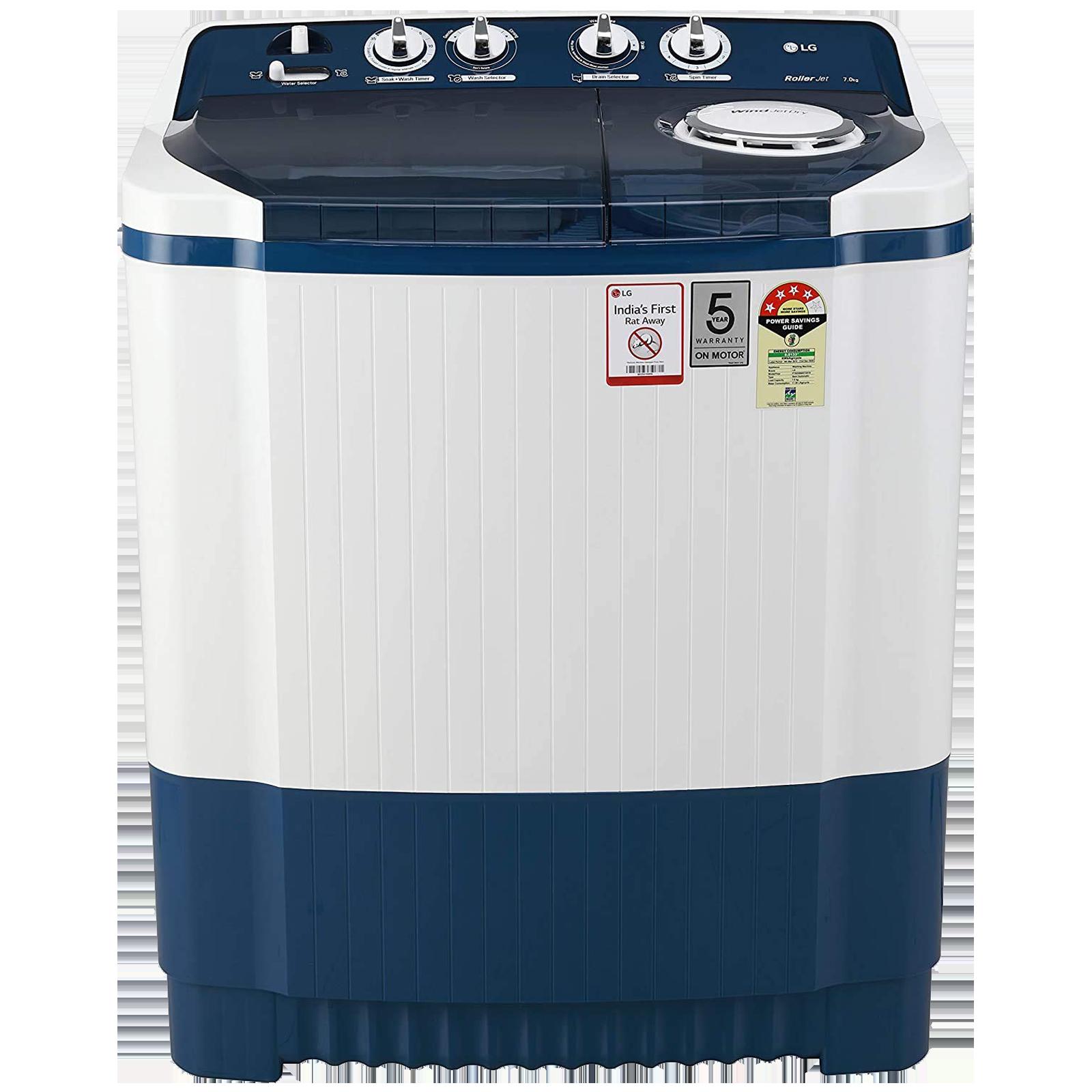 LG 7 kg 4 Star Semi-Automatic Top Load Washing Machine (Auto Restart, P7025SBAY.ADBQEIL, Dark Blue)_1