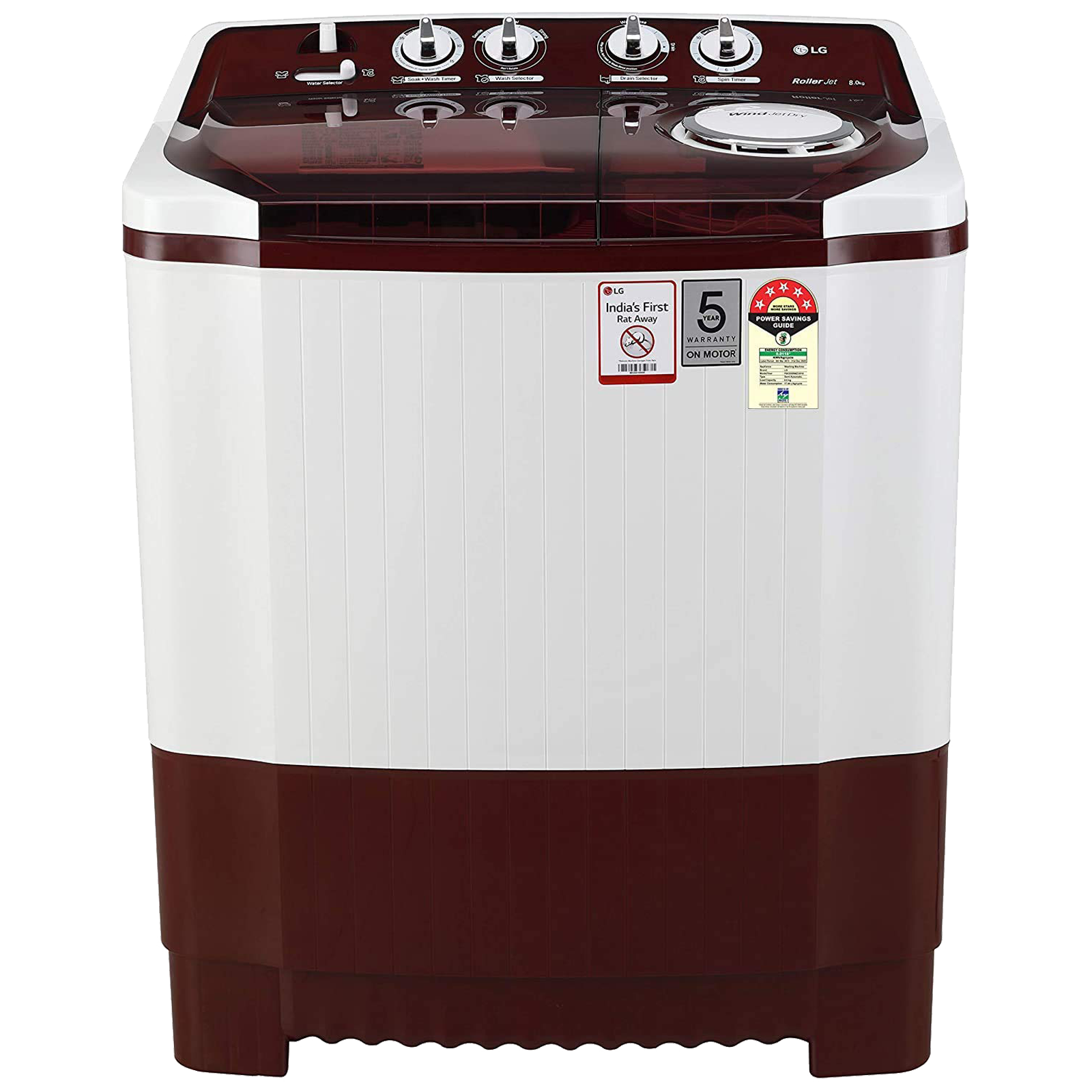 LG 8 kg 5 Star Semi-Automatic Top Load Washing Machine (Auto Restart, P8035SRMZ.ABGQEIL, Burgundy)_1