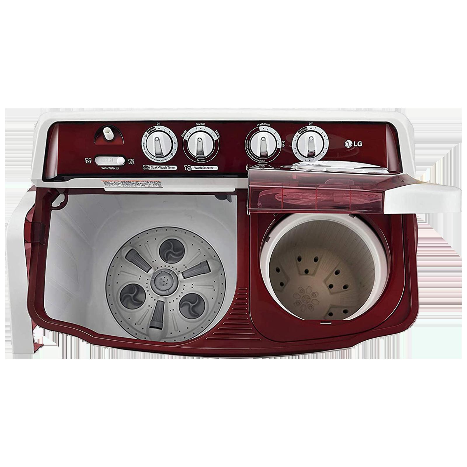 LG 8 kg 5 Star Semi-Automatic Top Load Washing Machine (Auto Restart, P8035SRMZ.ABGQEIL, Burgundy)_4