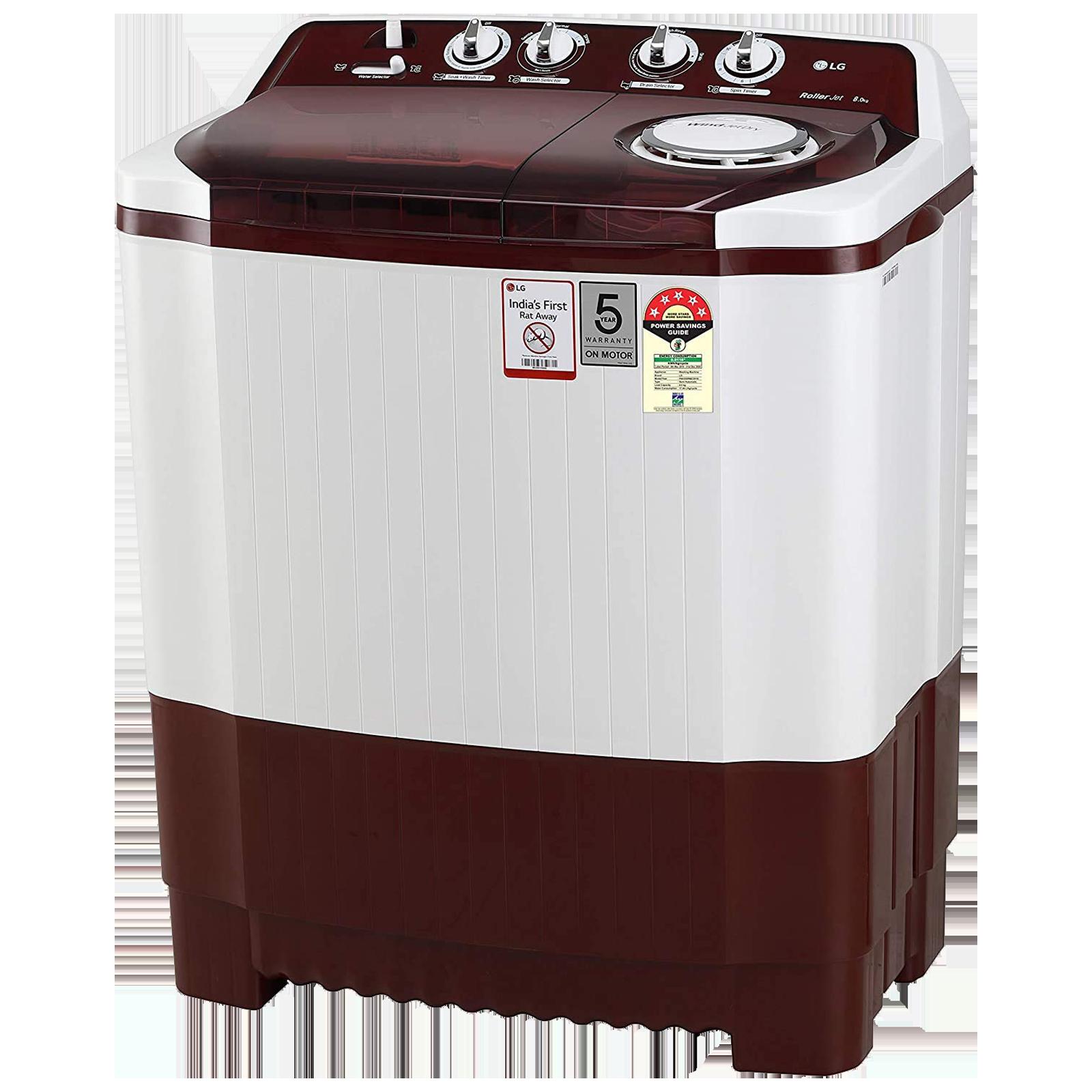 LG 8 kg 5 Star Semi-Automatic Top Load Washing Machine (Auto Restart, P8035SRMZ.ABGQEIL, Burgundy)_3
