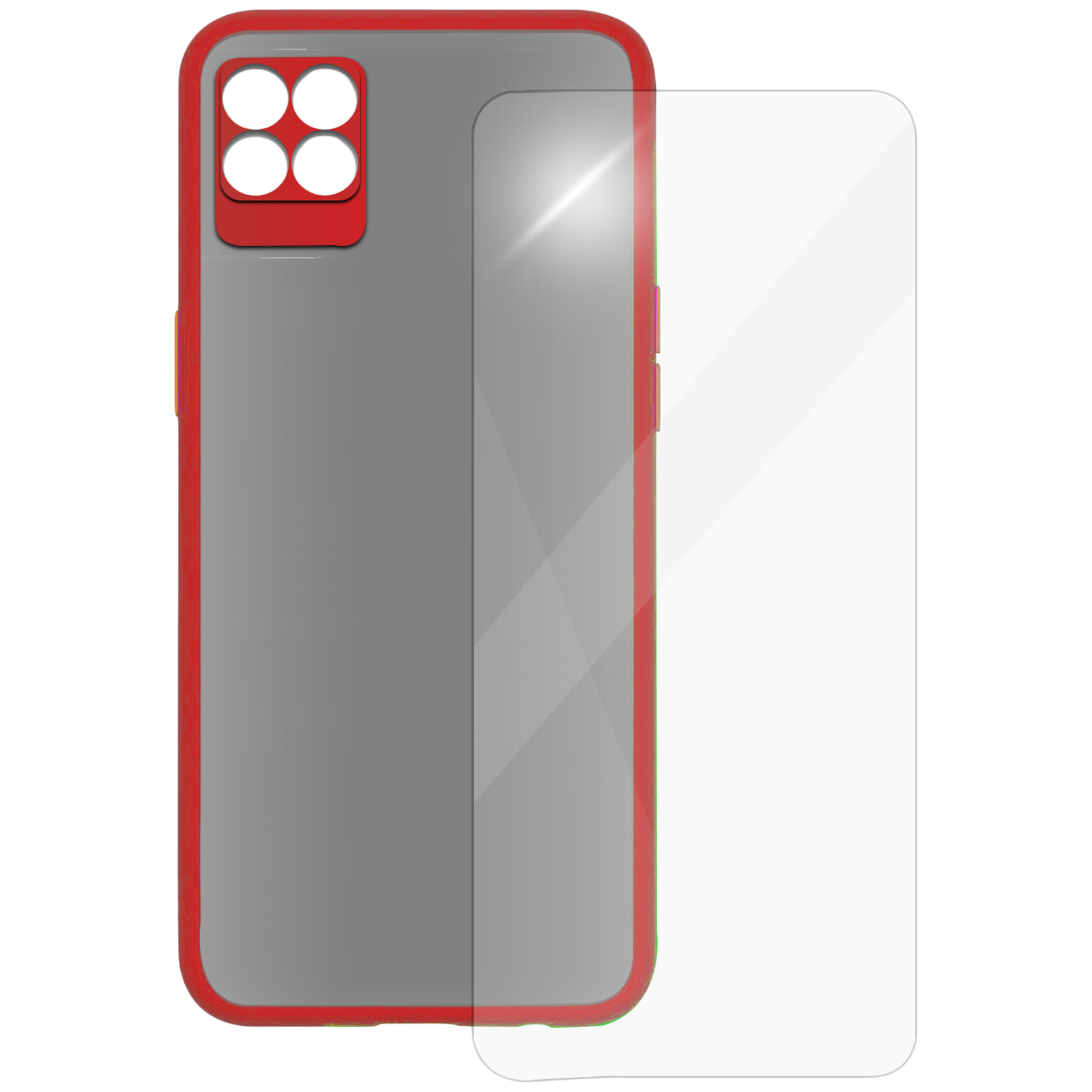 Arrow Camera Duplex Back Case and Screen Protector Bundle For Realme 8 Pro (Ultra Transparent Visibility, AR-1045, Red)_1