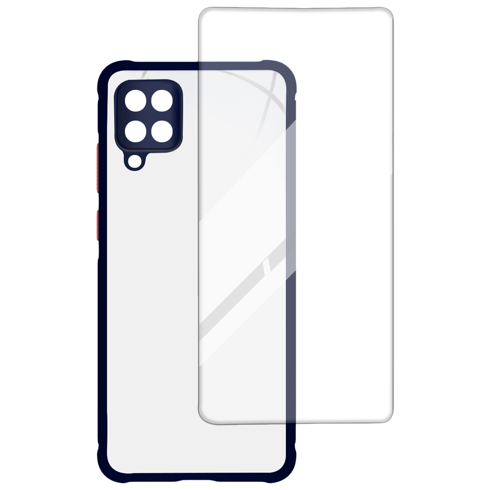 Arrow Hybrid Back Case and Screen Protector Bundle For Samsung Galaxy M12 (Ultra Transparent Visibility, AR-979, Blue)_1