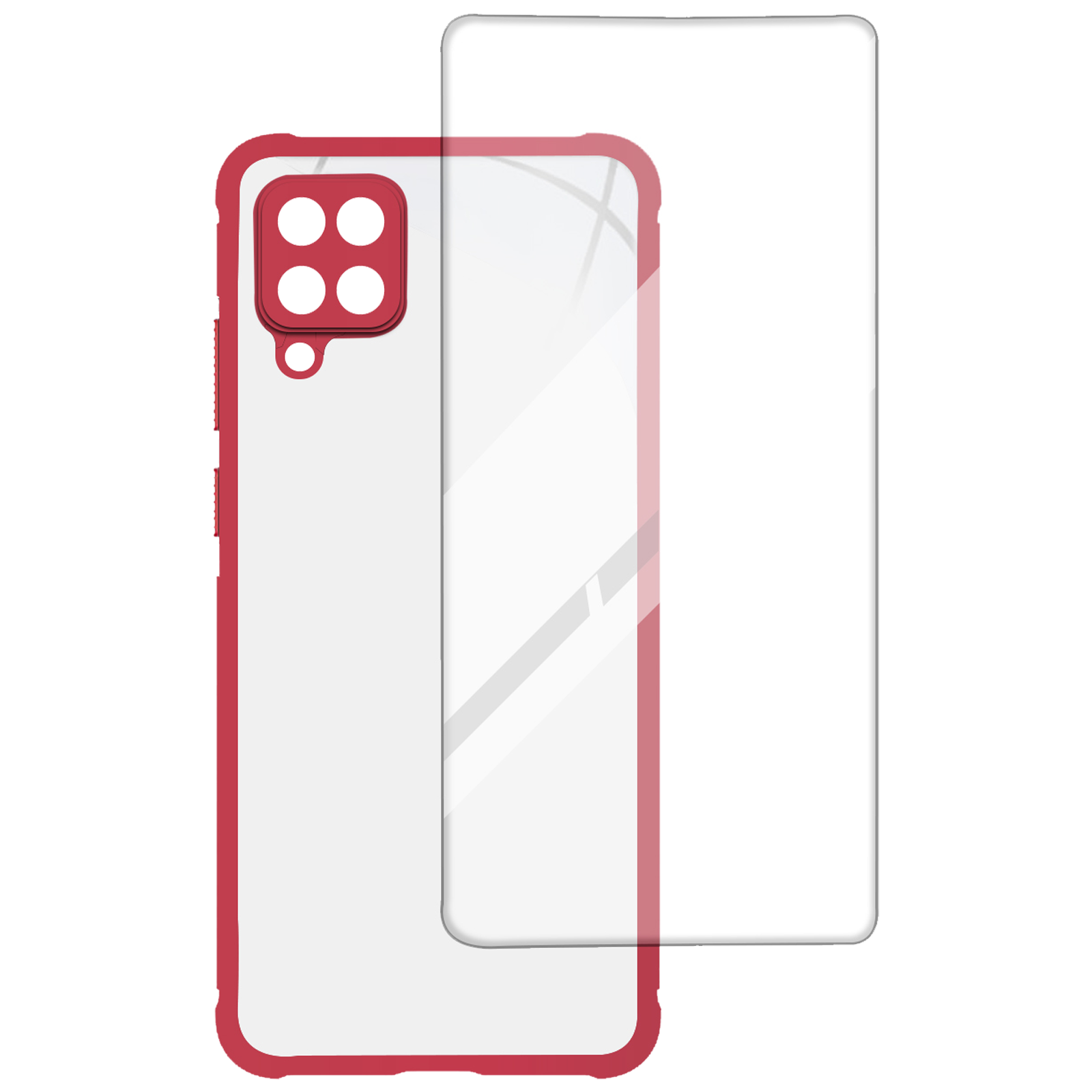 Arrow Hybrid Back Case and Screen Protector Bundle For Samsung Galaxy M12 (Ultra Transparent Visibility, AR-980, Red)_1