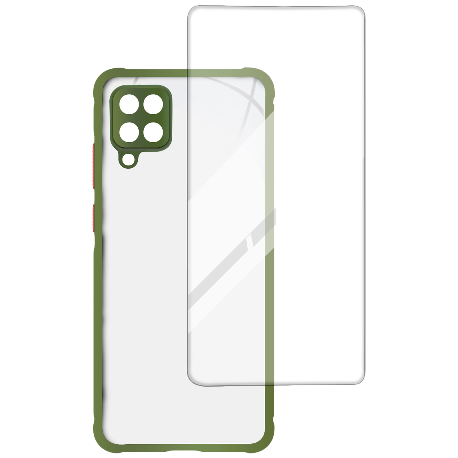 Arrow Hybrid Back Case and Screen Protector Bundle For Samsung Galaxy M12 (Ultra Transparent Visibility, AR-982, Light Green)_1