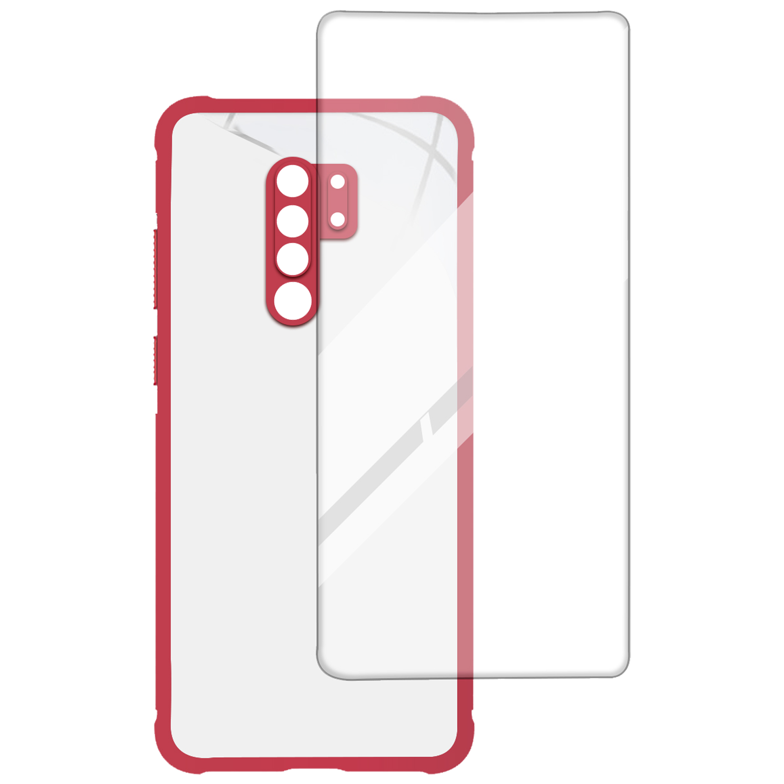 Arrow Hybrid Back Case and Screen Protector Bundle For Redmi 9 Prime (Ultra Transparent Visibility, AR-1020, Red)_1
