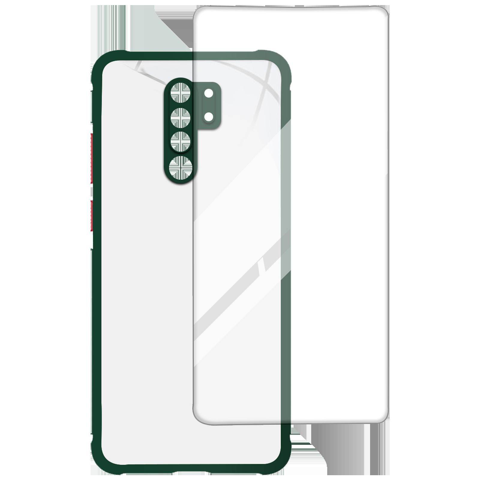 Arrow Hybrid Back Case and Screen Protector Bundle For Redmi 9 Prime (Ultra Transparent Visibility, AR-1021, Dark Green)_1