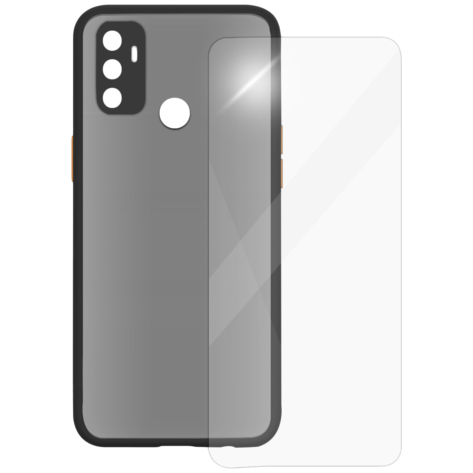 Arrow Camera Duplex Back Case and Screen Protector Bundle For Oppo A53 (Ultra Transparent Visibility, AR-958, Black)_1