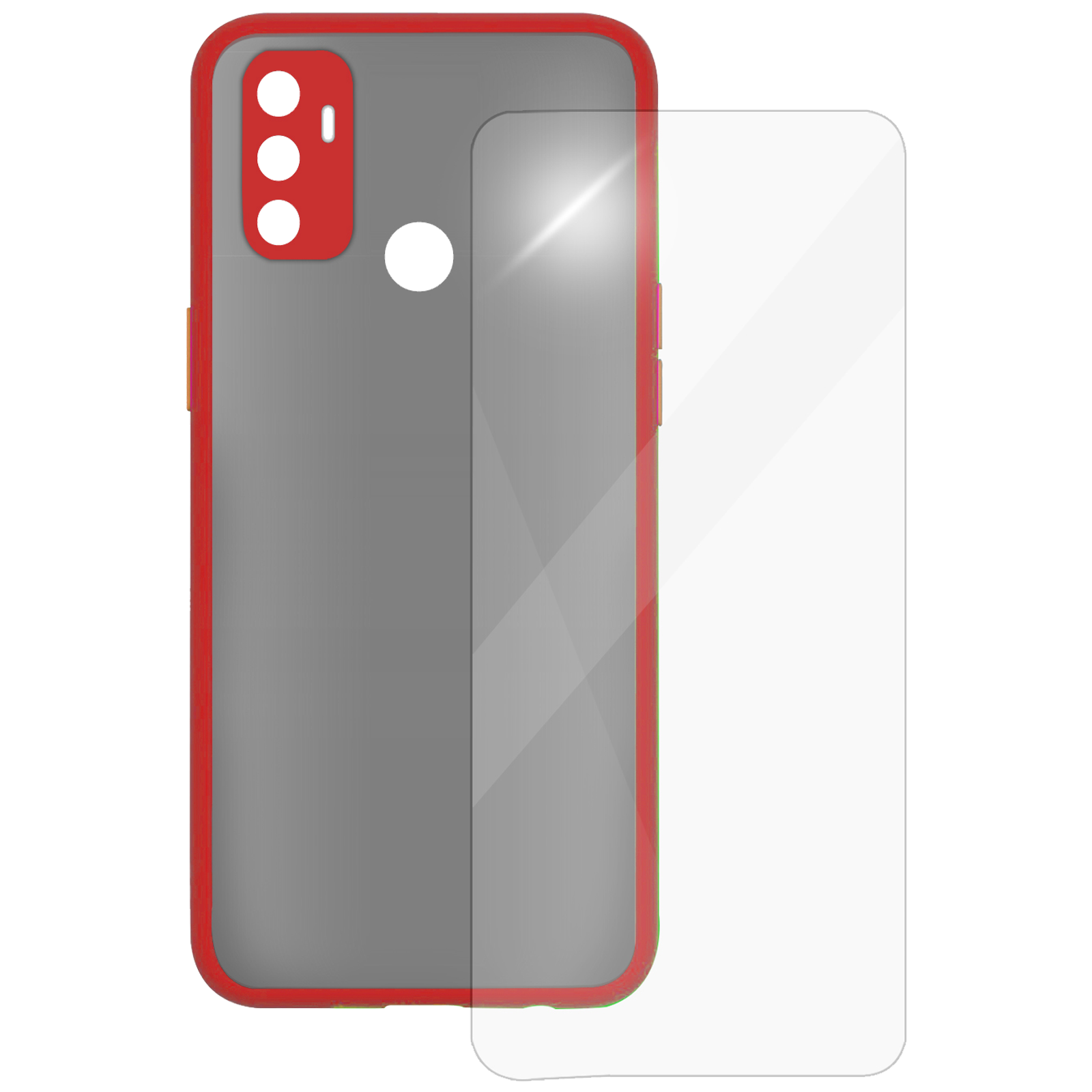 Arrow Camera Duplex Back Case and Screen Protector Bundle For Oppo A53 (Ultra Transparent Visibility, AR-960, Red)_1