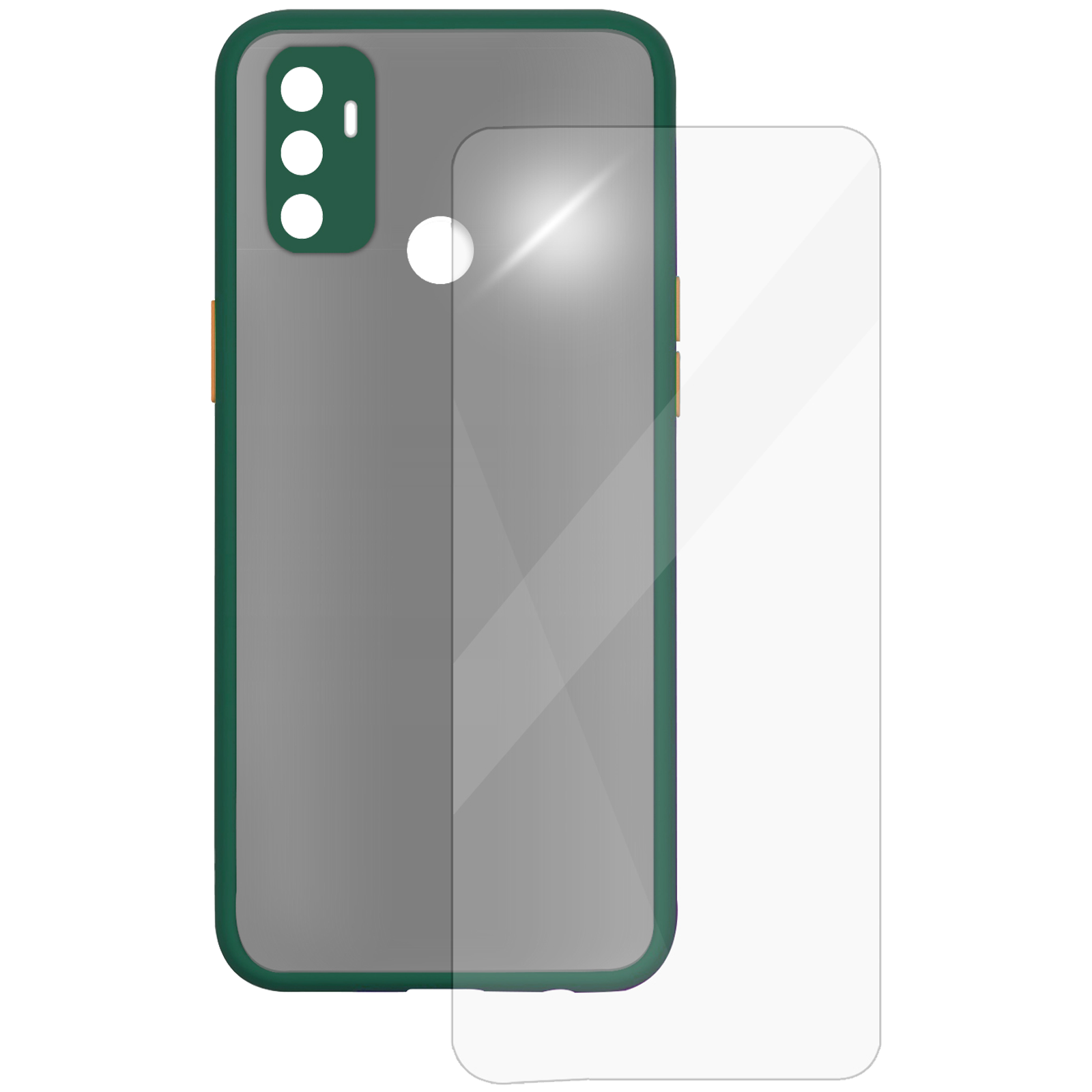 Arrow Camera Duplex Back Case and Screen Protector Bundle For Oppo A53 (Ultra Transparent Visibility, AR-961, Dark Green)_1