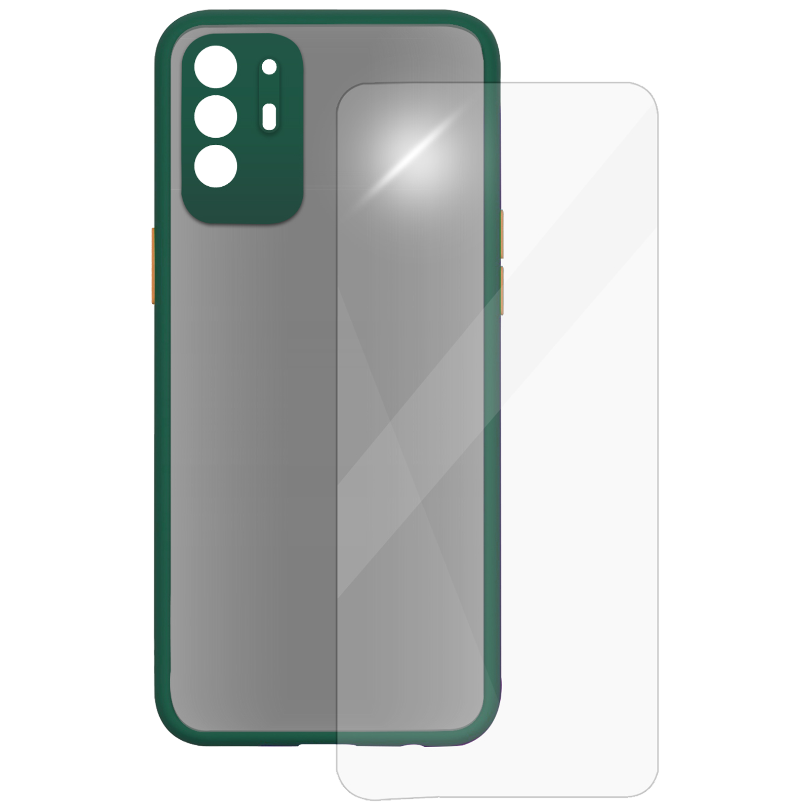 Arrow Camera Duplex Back Case and Screen Protector Bundle For Oppo F19 Pro+ (Enhanced Camera Protection, AR-991, Dark Green)_1