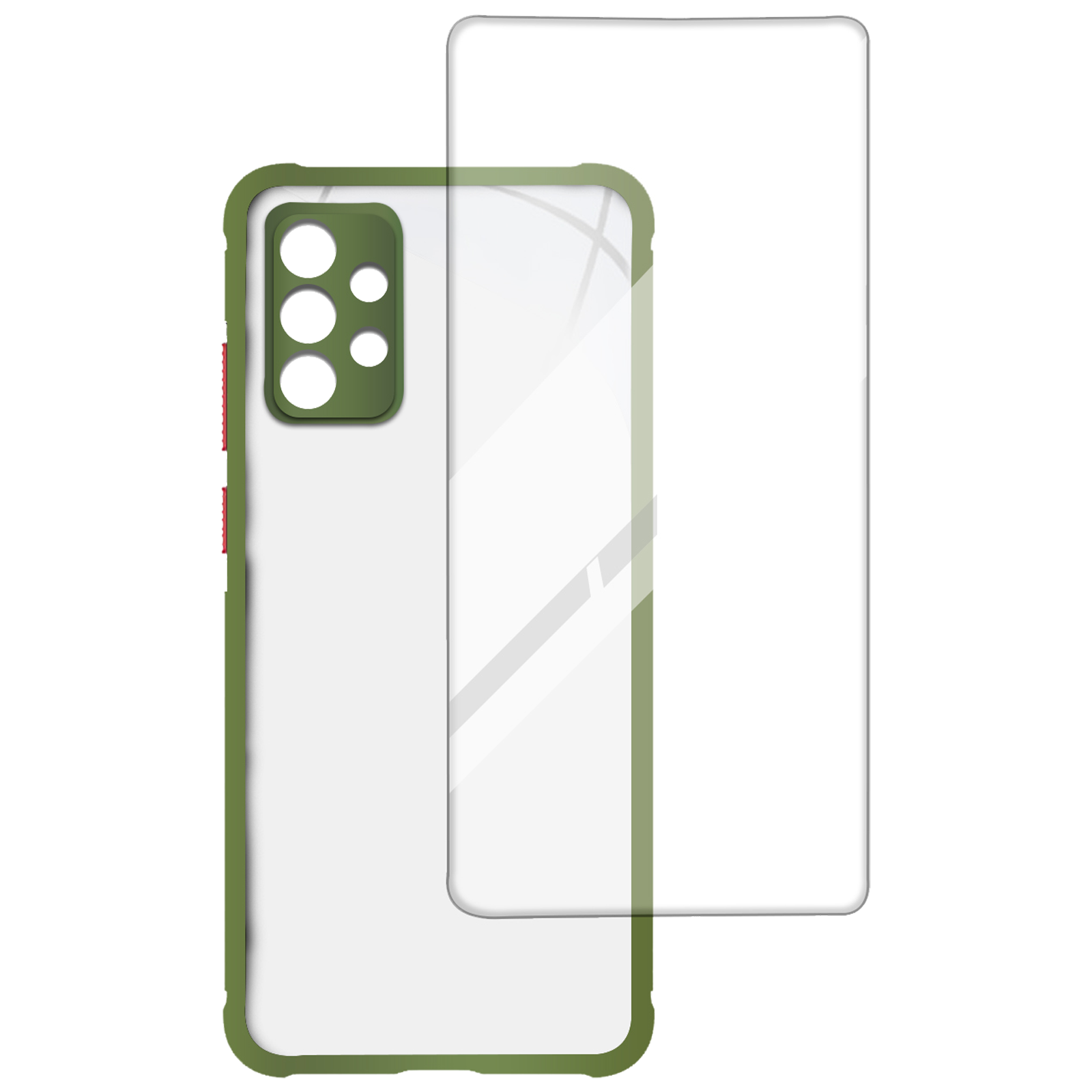 Arrow Hybrid Back Case and Screen Protector Bundle For Samsung Galaxy A52 (Highlighted Color Edges, AR-967, Light Green)_1