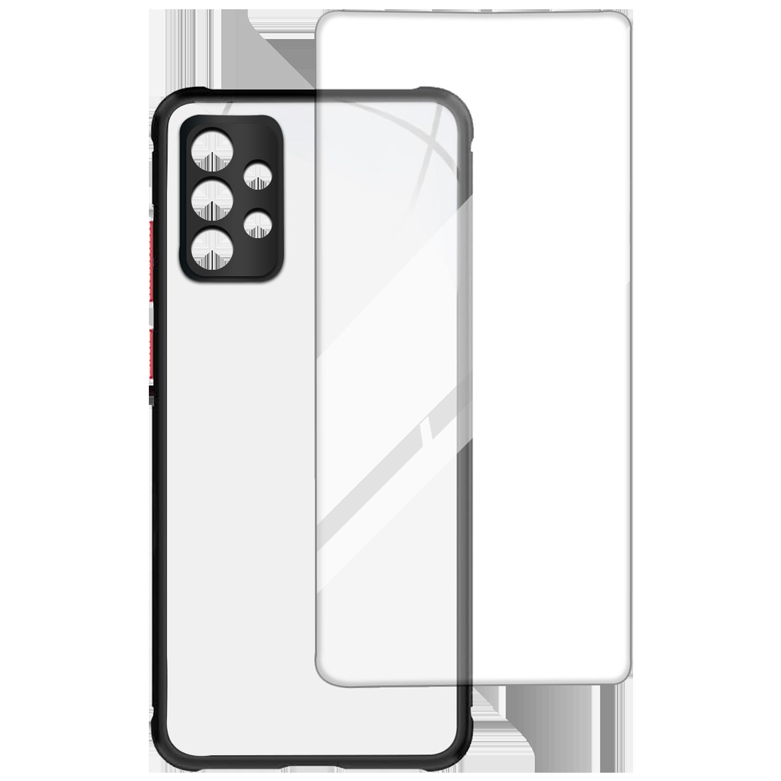 Arrow Hybrid Back Case and Screen Protector Bundle For Samsung Galaxy A72 (Oleophobic Coated, AR-968, Black)_1