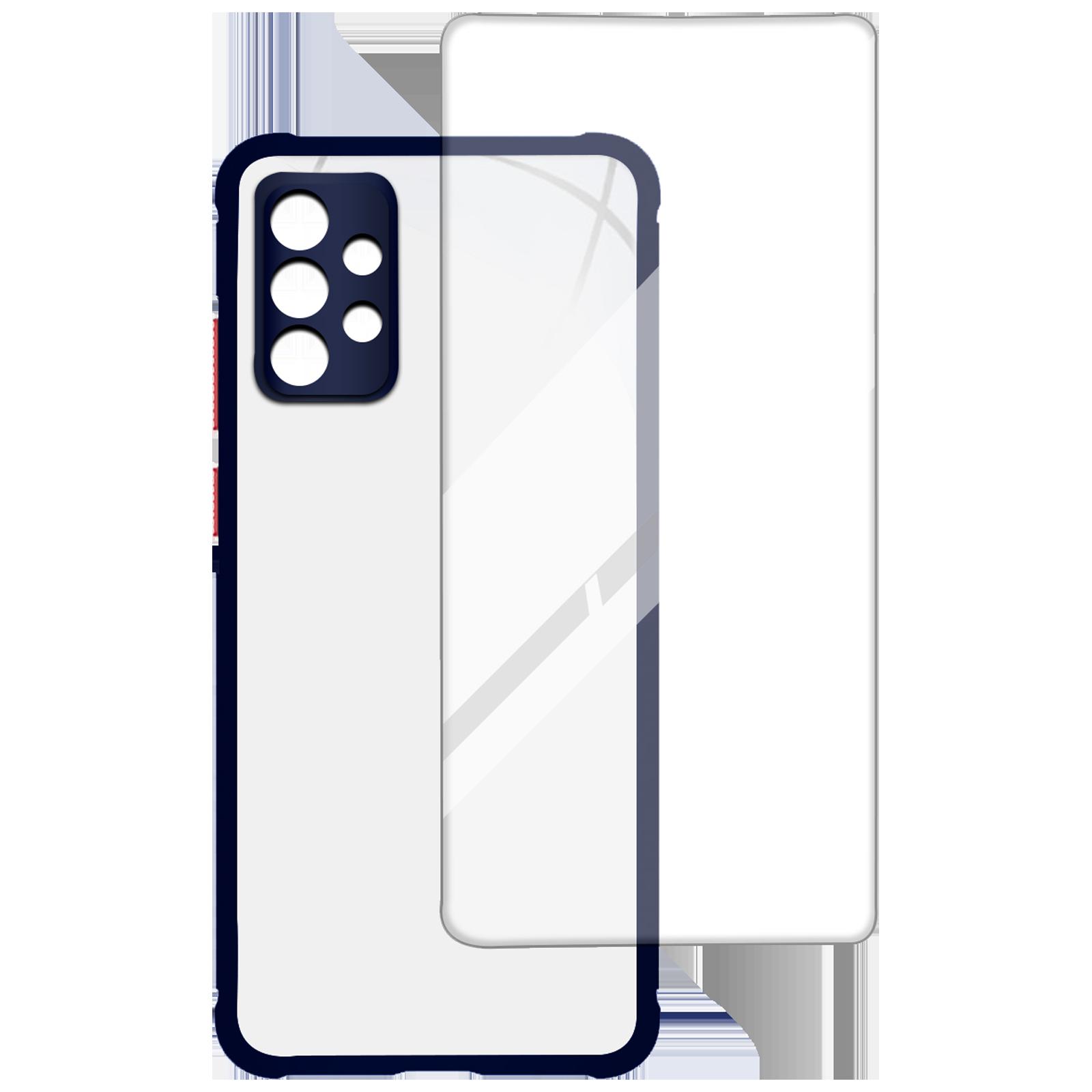 Arrow Hybrid Back Case and Screen Protector Bundle For Samsung Galaxy A72 (Oleophobic Coated, AR-969, Blue)_1