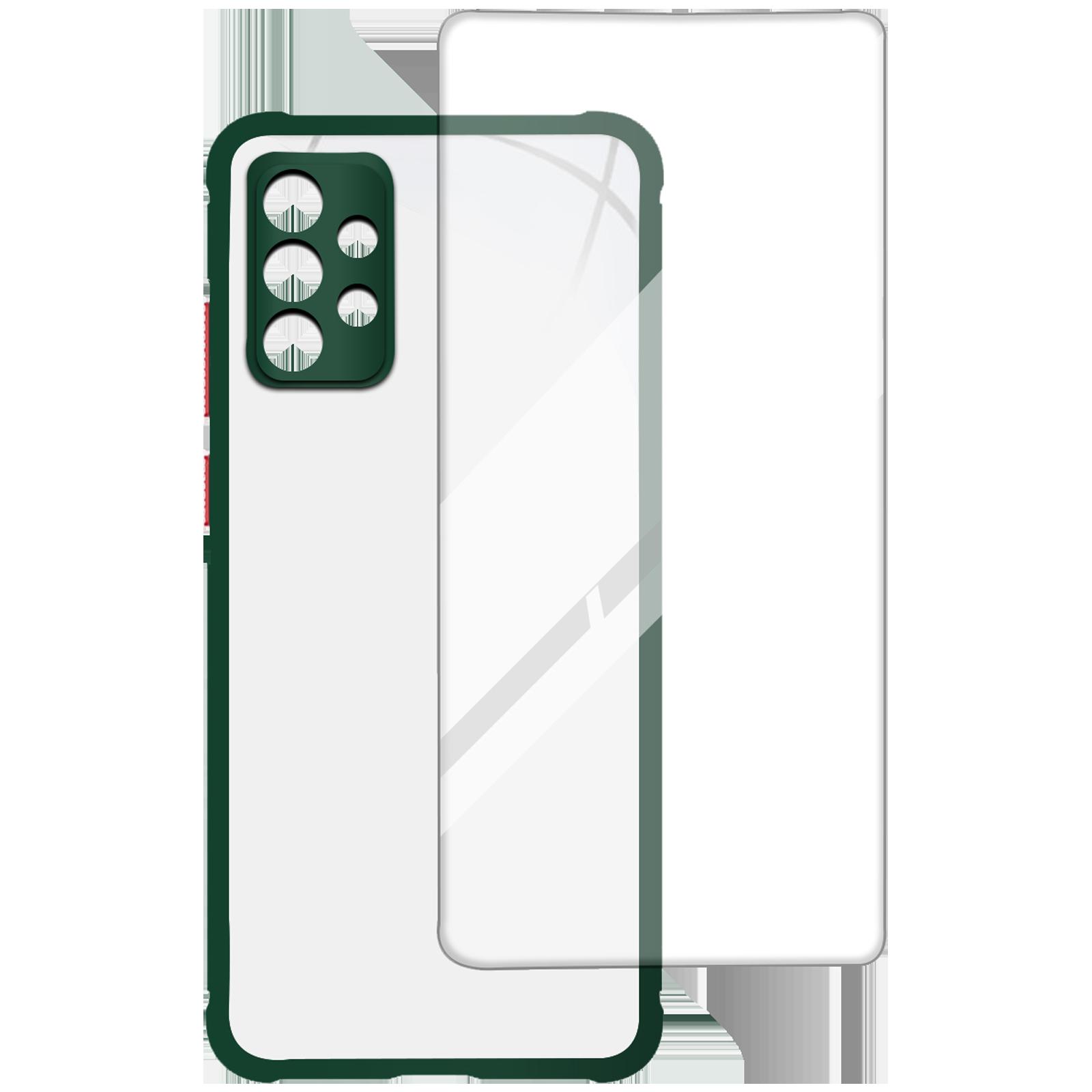 Arrow Hybrid Back Case and Screen Protector Bundle For Samsung Galaxy A72 (Oleophobic Coated, AR-971, Dark Green)_1