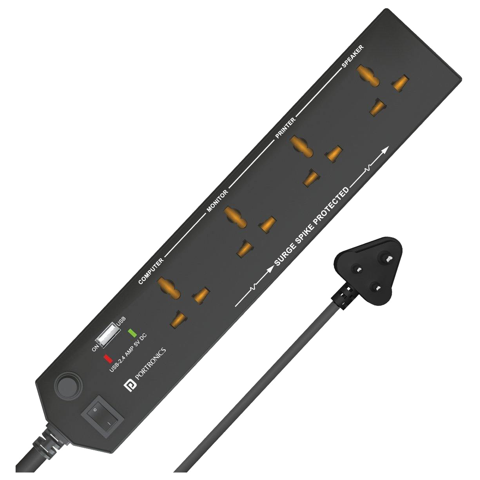 Portronics Power Plate 4 6 Amps 4 Sockets Surge Protector with Individual Switch (1.5 Meters, In-built Protection System, POR 1291, Black)_1