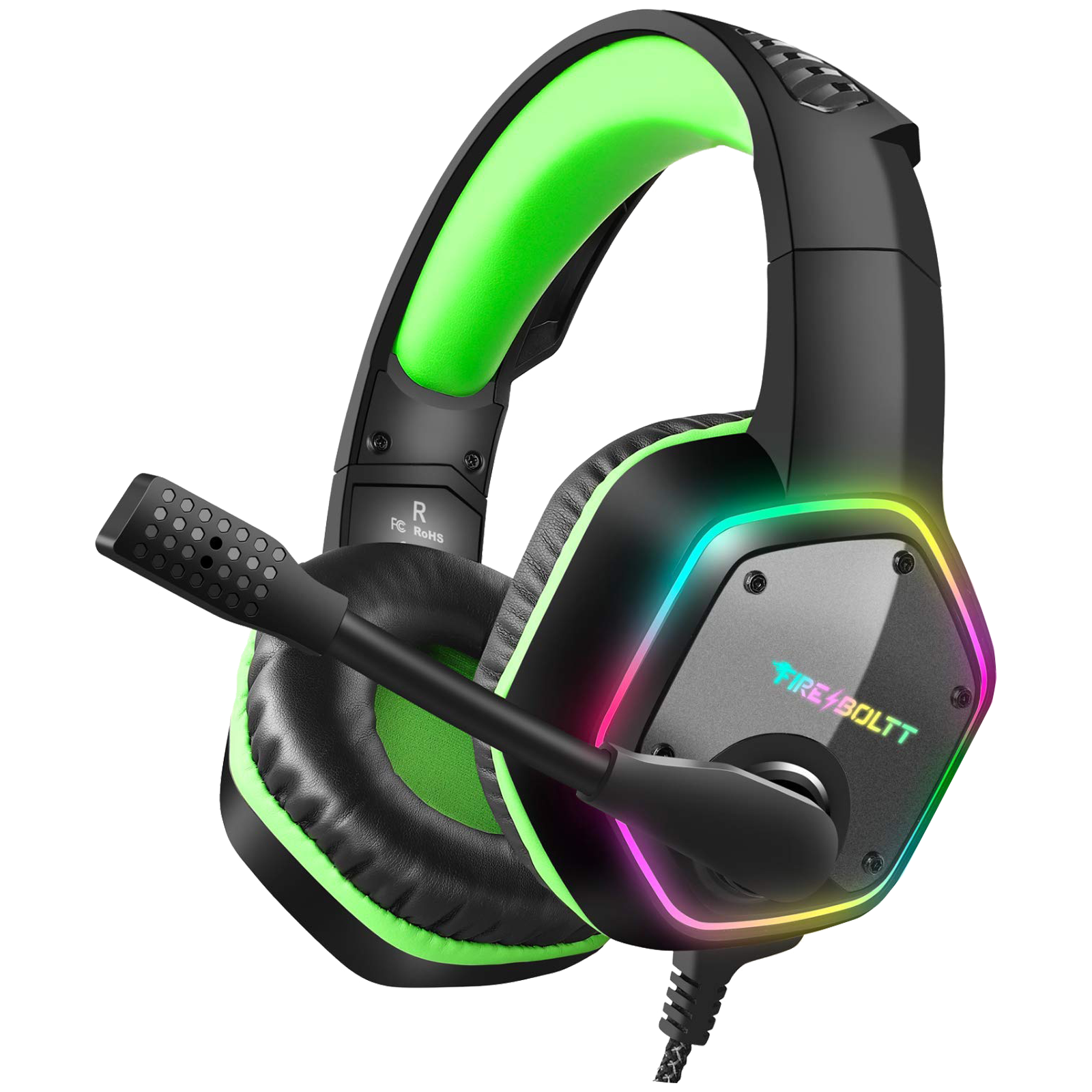 Fire-Boltt 13BGHAAY#1 Over-Ear Wired Gaming Headphone with Mic (Omnidirectional Noise Reduction Tech, BGH1300, Lime)_1