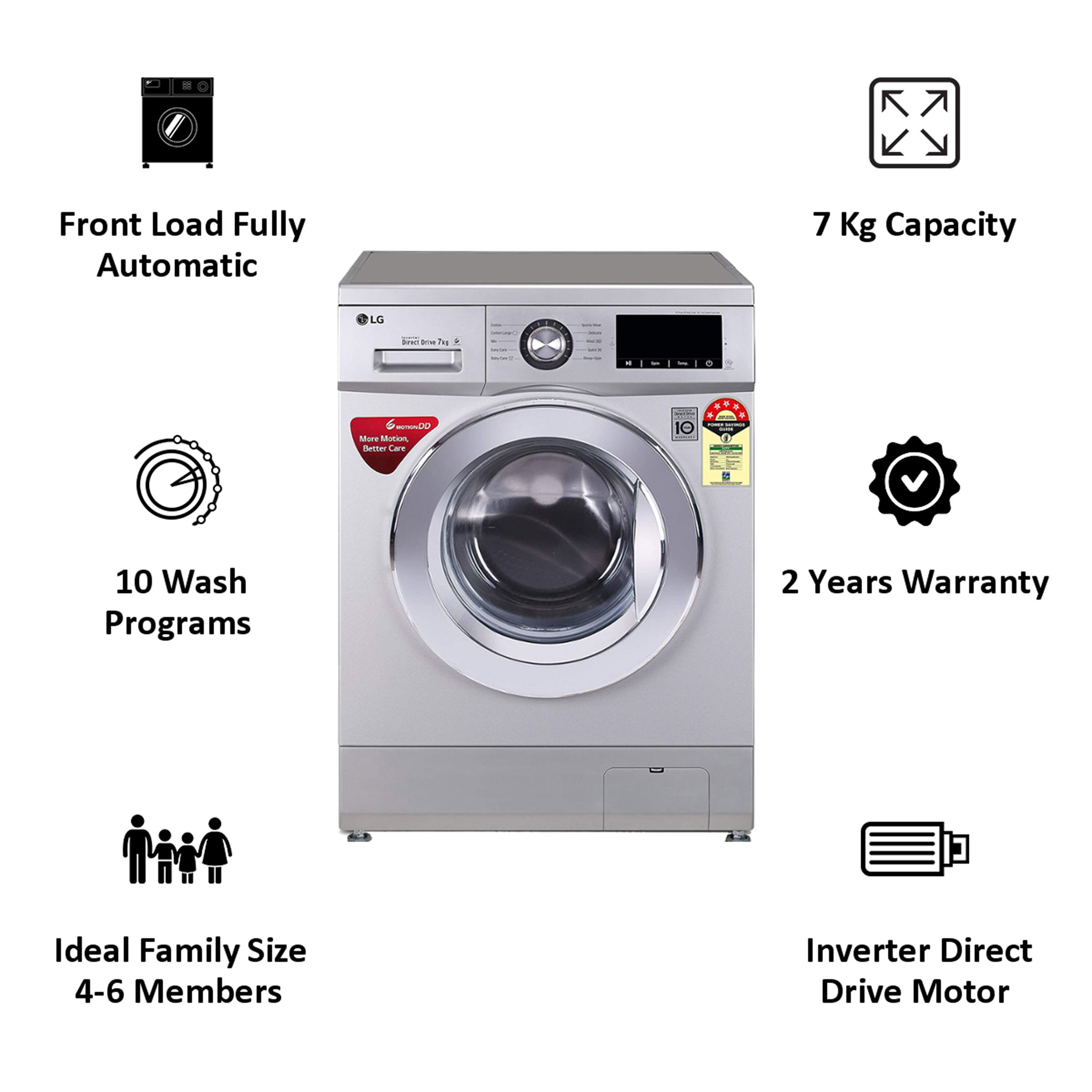 LG 7 kg 5 Star Fully Automatic Front Load Washing Machine (Smart Diagnosis, FHM1207ZDL.ALSQEIL, Luxury Silver) 5