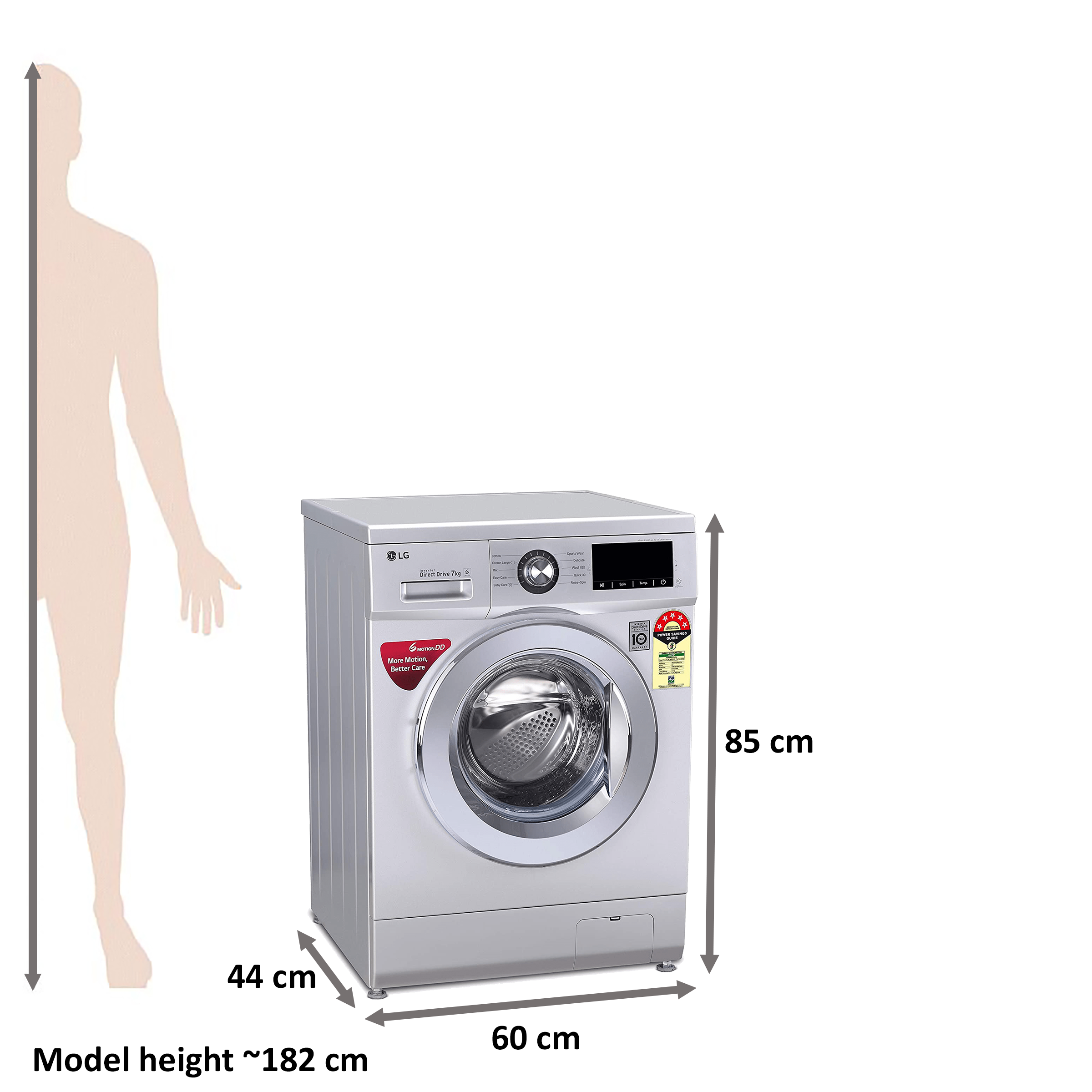 LG 7 kg 5 Star Fully Automatic Front Load Washing Machine (Smart Diagnosis, FHM1207ZDL.ALSQEIL, Luxury Silver) 2