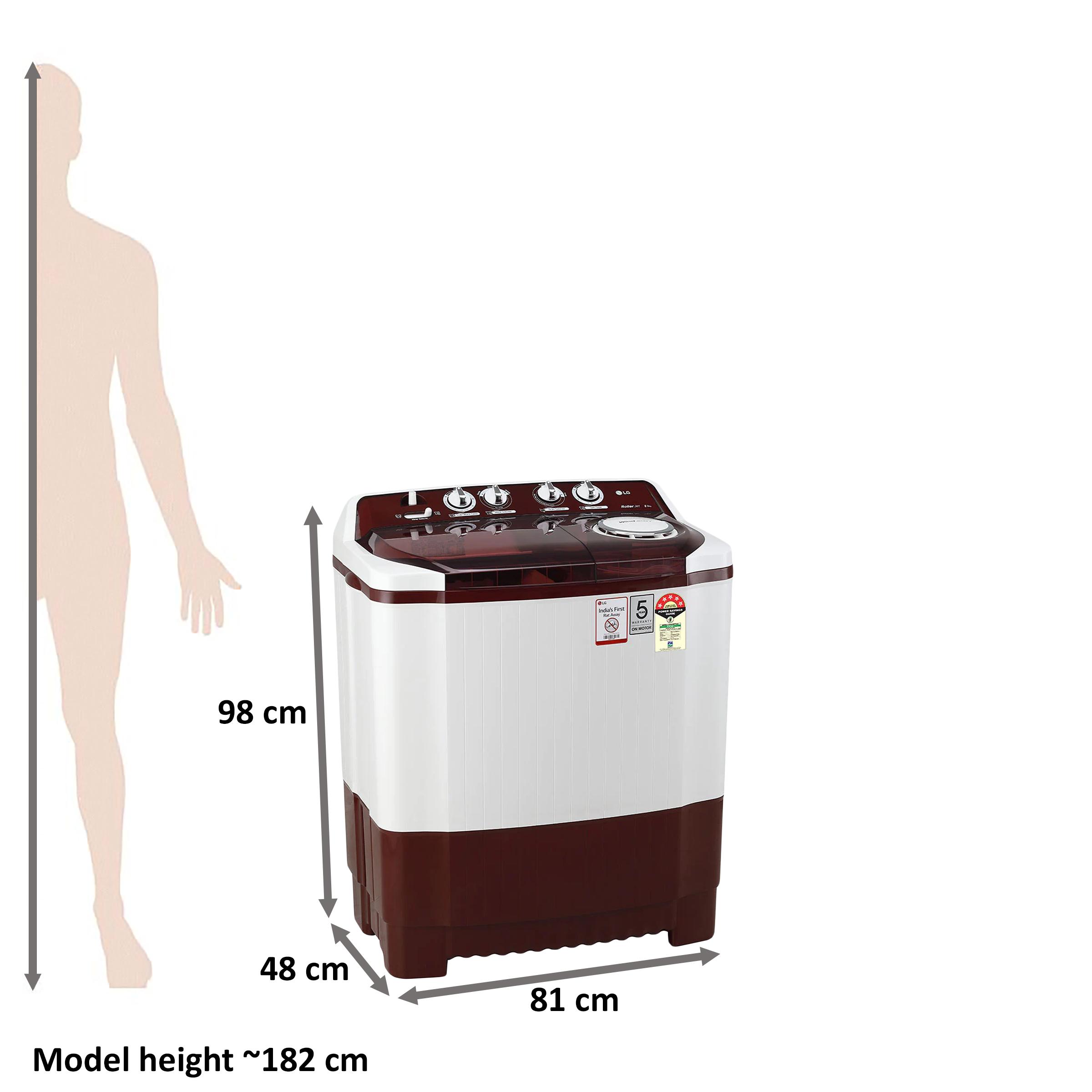 LG 8 kg 5 Star Semi-Automatic Top Load Washing Machine (Auto Restart, P8035SRMZ.ABGQEIL, Burgundy)_2