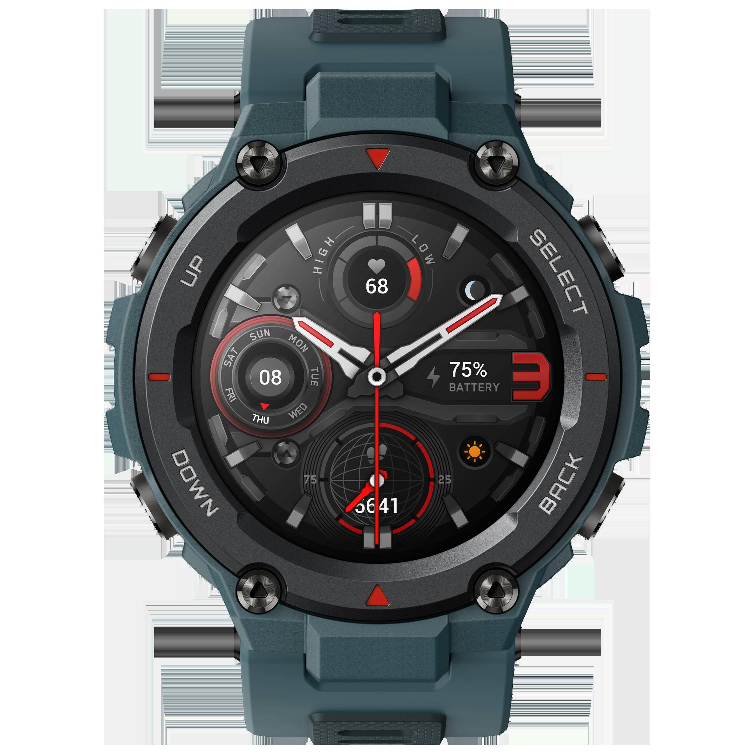 Amazfit T-Rex Pro Smart Watch (GPS, 33.02mm) (Blood-Oxygen Saturation Measurement, A2013, Steel Blue, Silicone Rubber Strap)