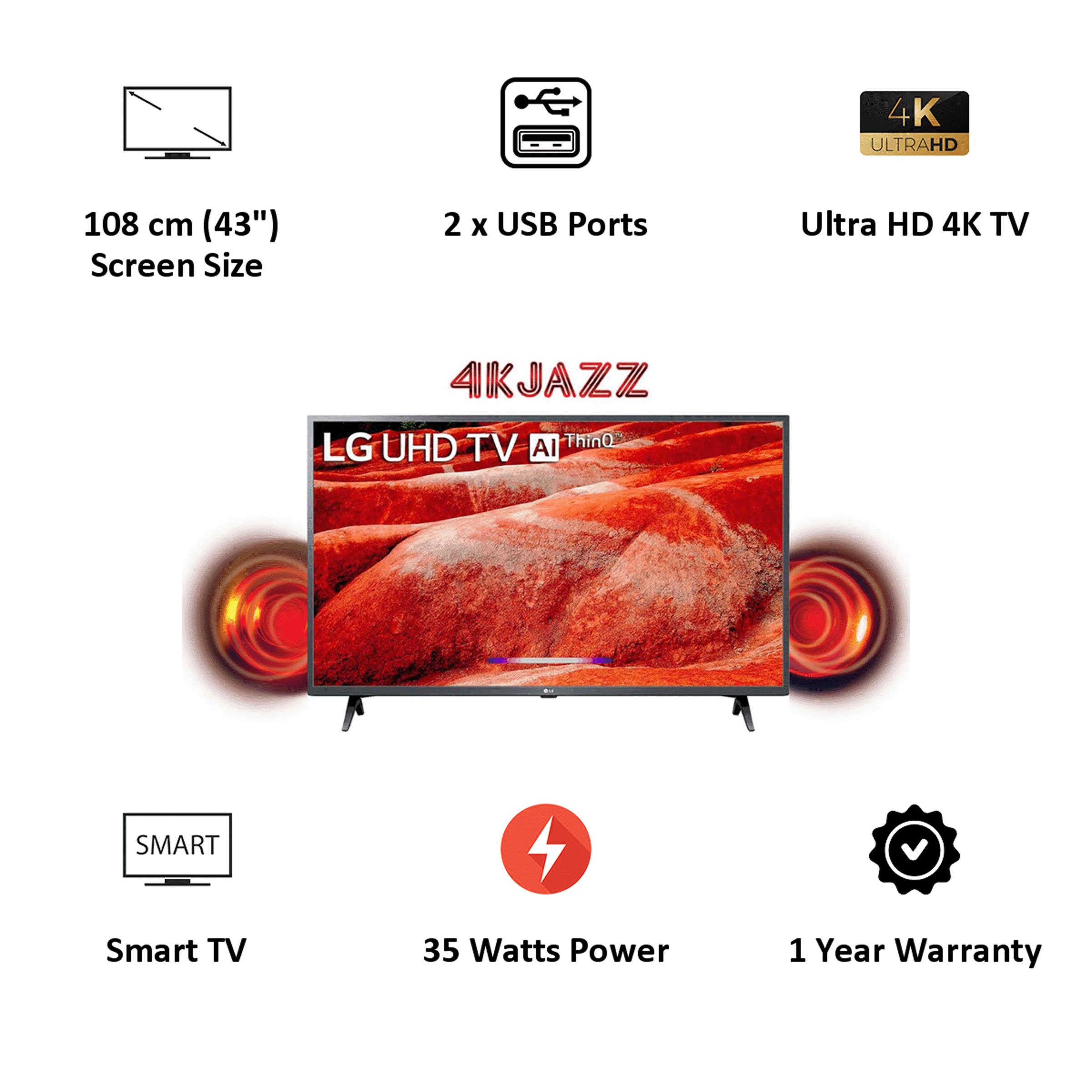 LG 108cm (43 Inch) 4K Ultra HD LED Smart TV (Google Assistant, 43UM7780, Ceramic Black) 3
