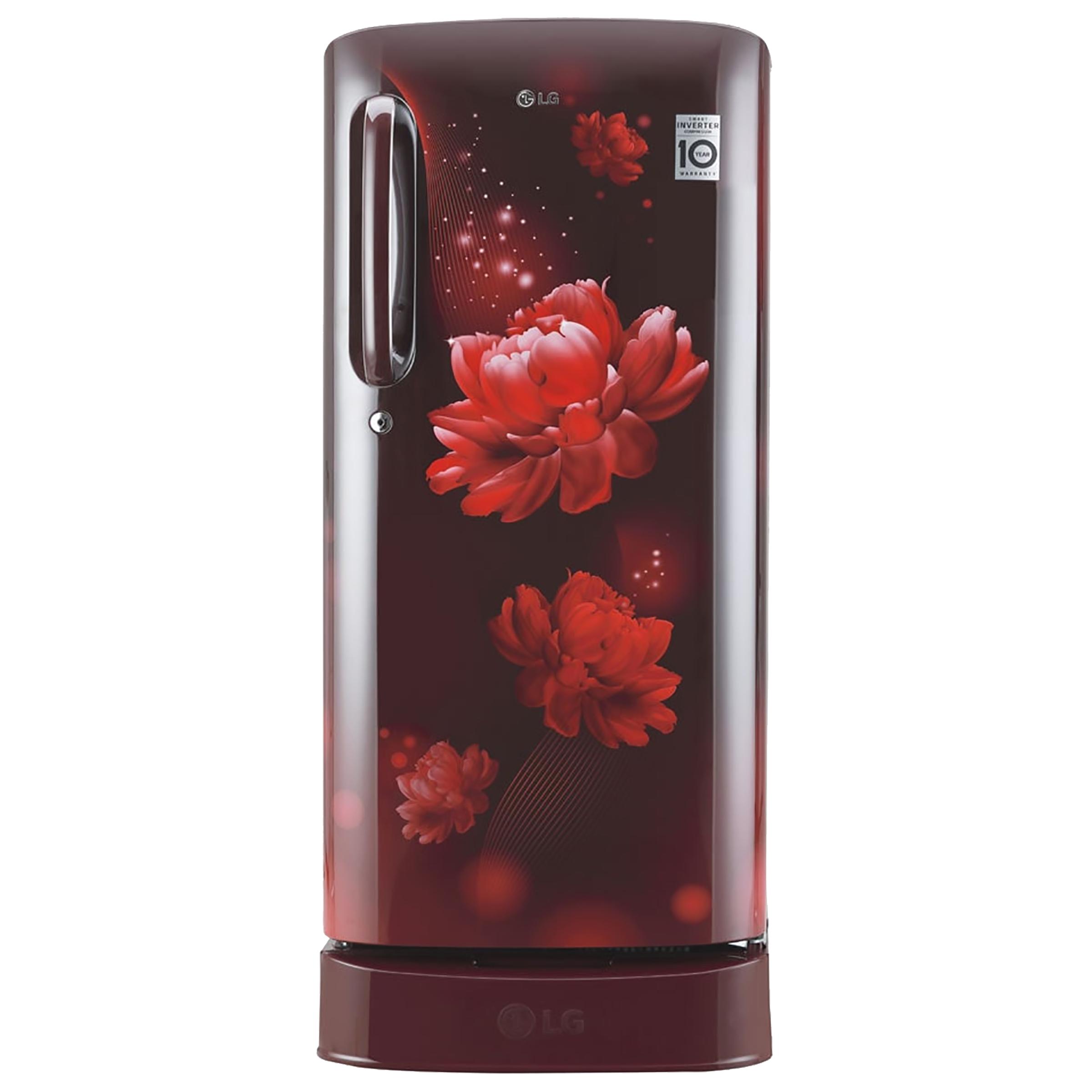 LG 190 Litres 4 Star Direct Cool Inverter Single Door Refrigerator (Smart Connect, GL-D201ASCY.ASCZEB, Scarlet Charm)_1