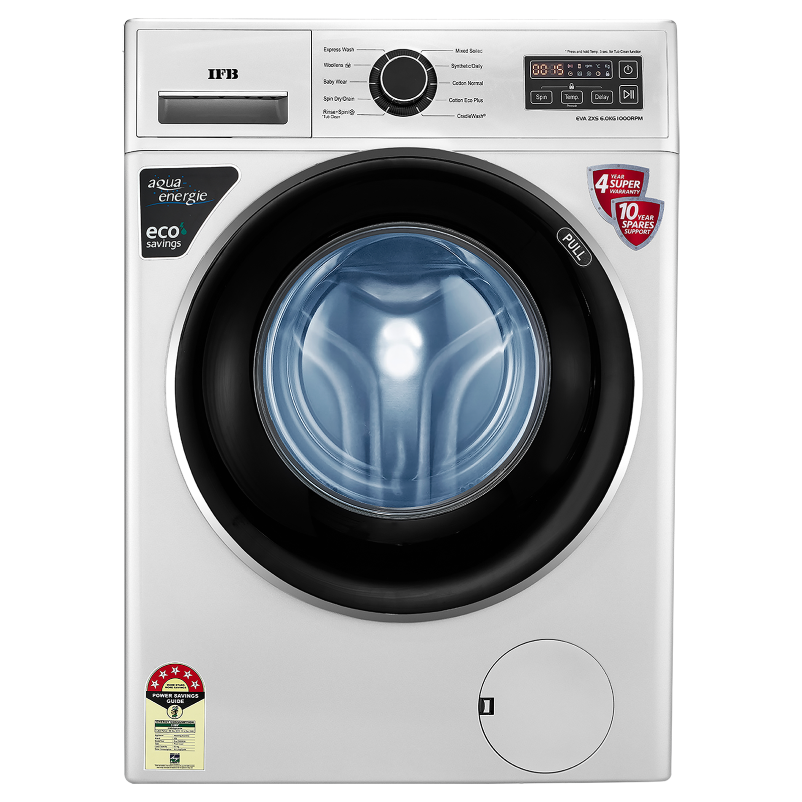 IFB 6 Kg 5 Star Fully Automatic Front Load Washing Machine (Eva ZXS, Silver)_1