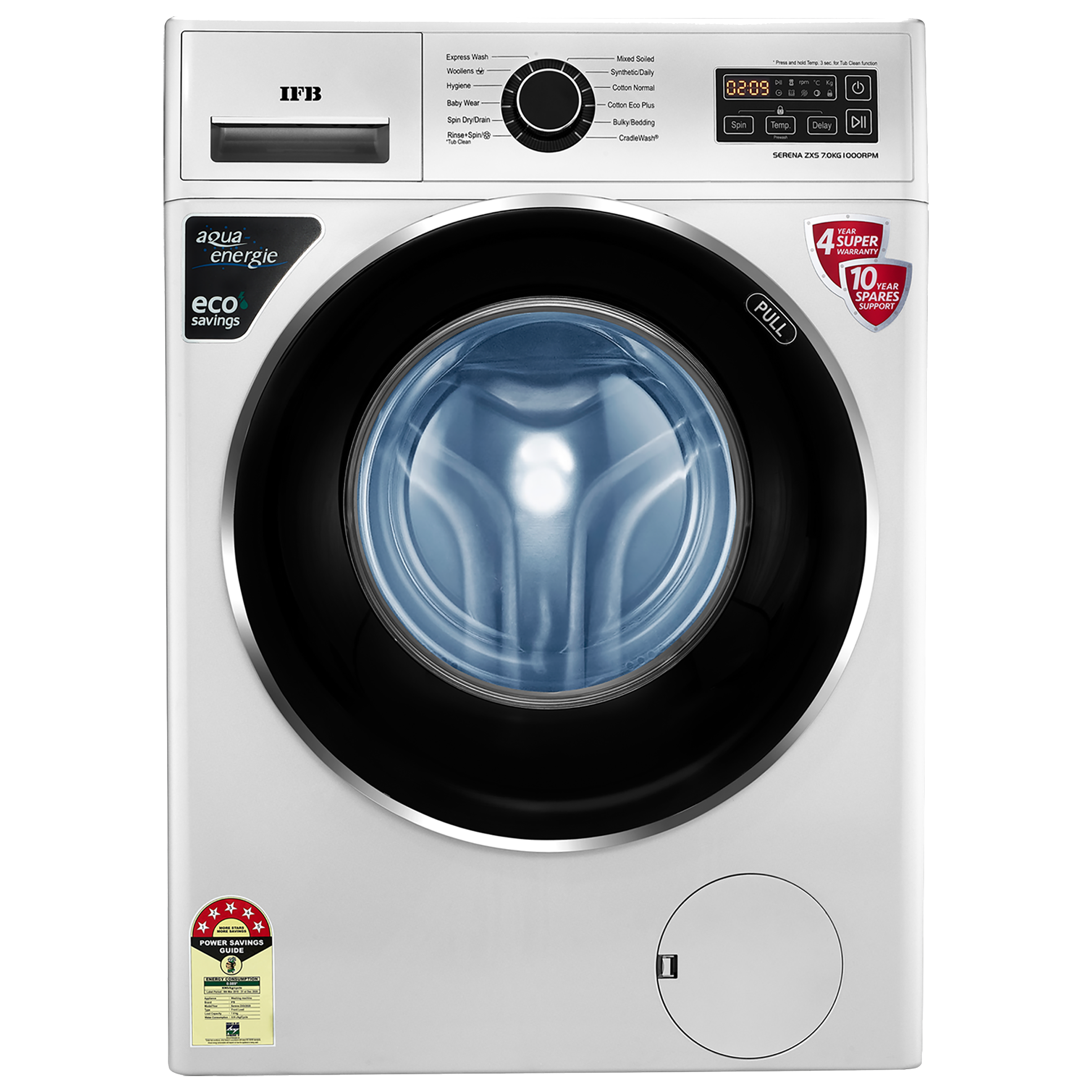 IFB Serena ZXS 7 Kg 5 Star Fully Automatic Front Loading Washing Machine (Inbuilt Heater, Silver)_1
