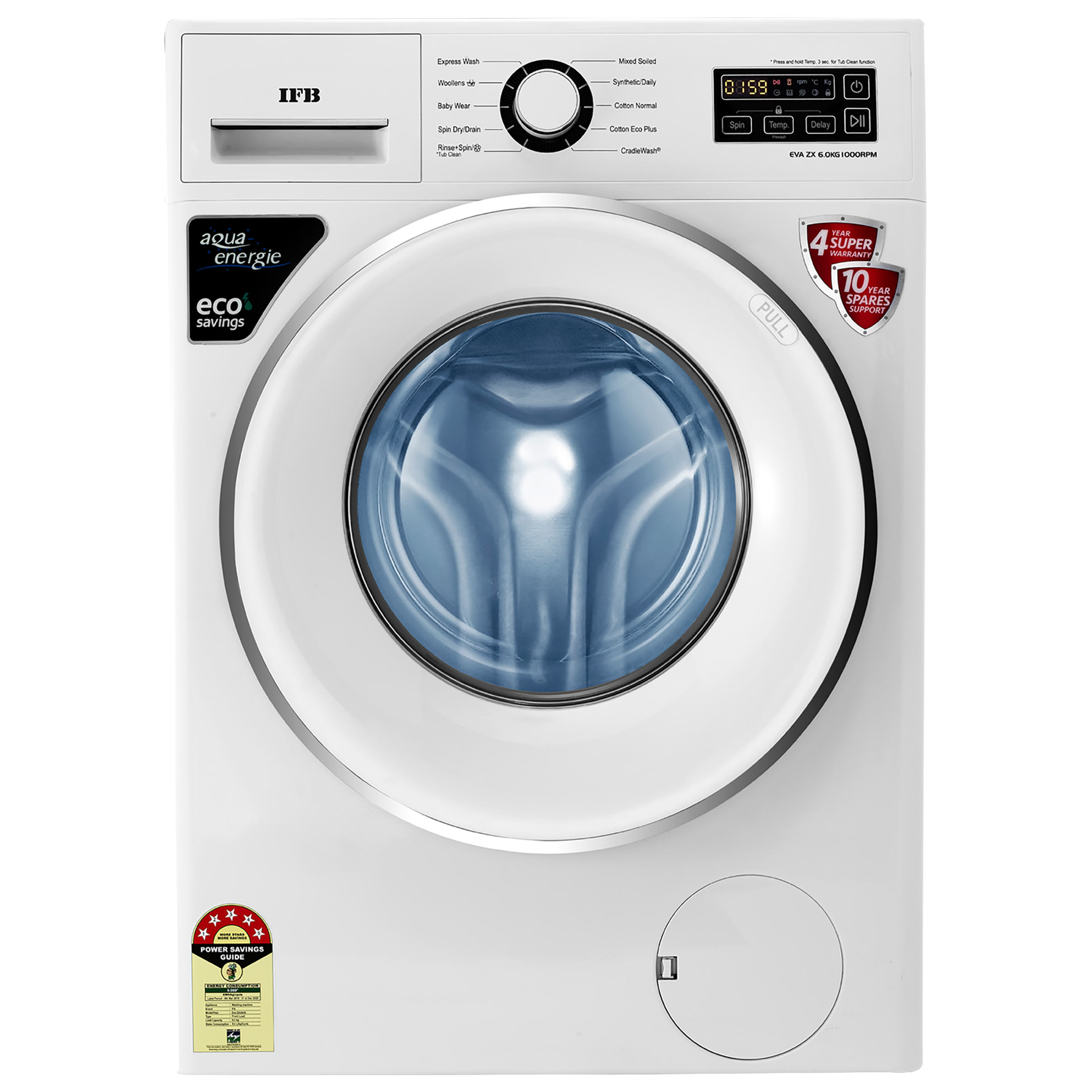 IFB Eva ZX 6 Kg 5 Star Fully Automatic Front Load Washing Machine (Inbuilt Heater, Self-Diagnosis, White)_1