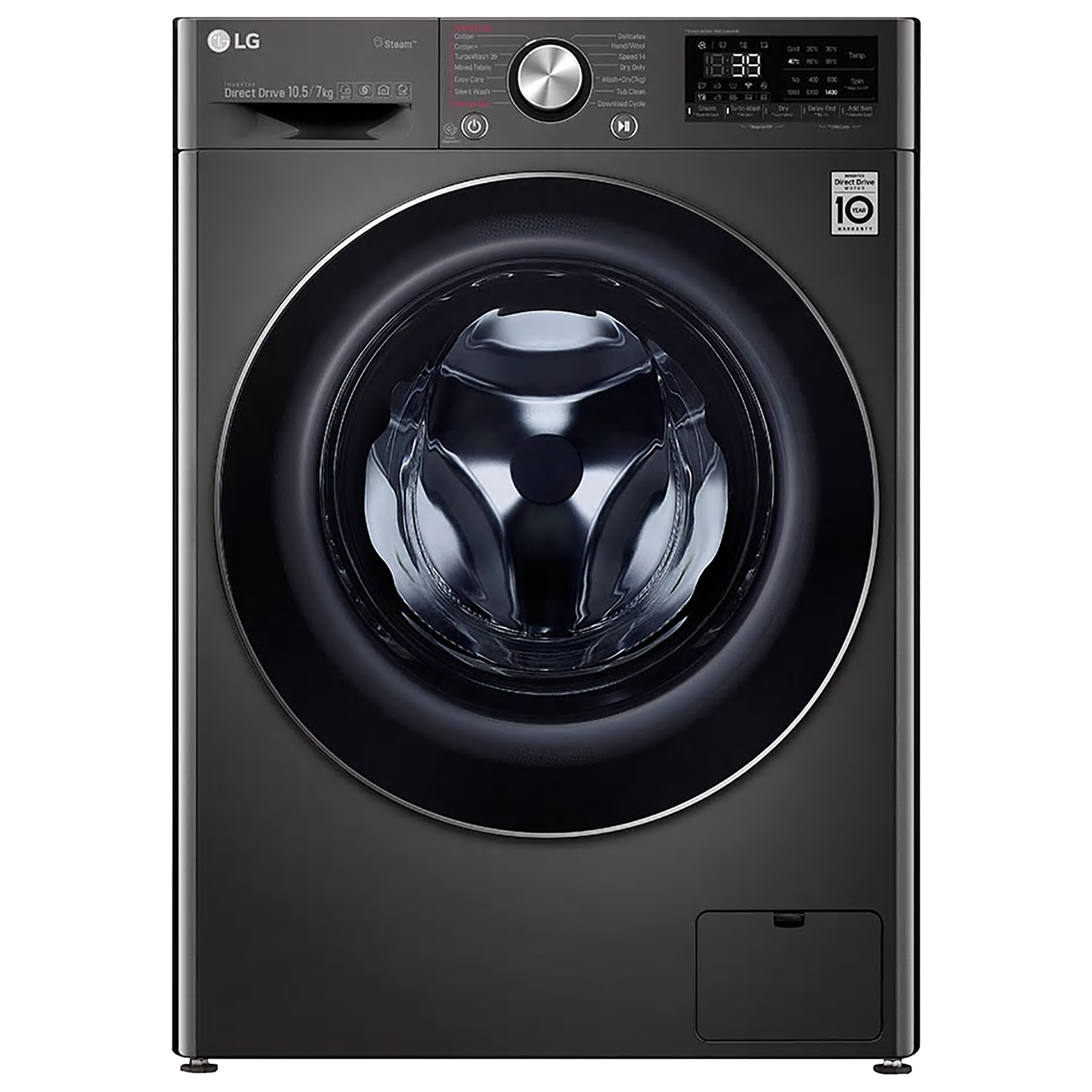 LG 10.5 kg/7 kg Fully Automatic Front Load Washer Dryer Combo (Steam Plus, FHD1057STB.ABLPEIL, Black VCM)_1