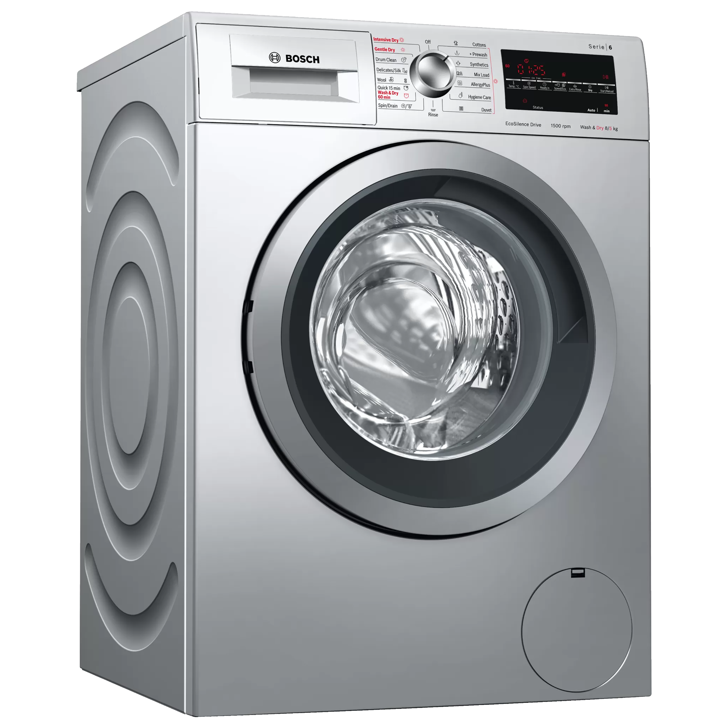 Bosch Serie 6 8 kg/5kg Fully Automatic Front Load Washer Dryer Combo (In-built Heater, WVG3046SIN, Silver)_1