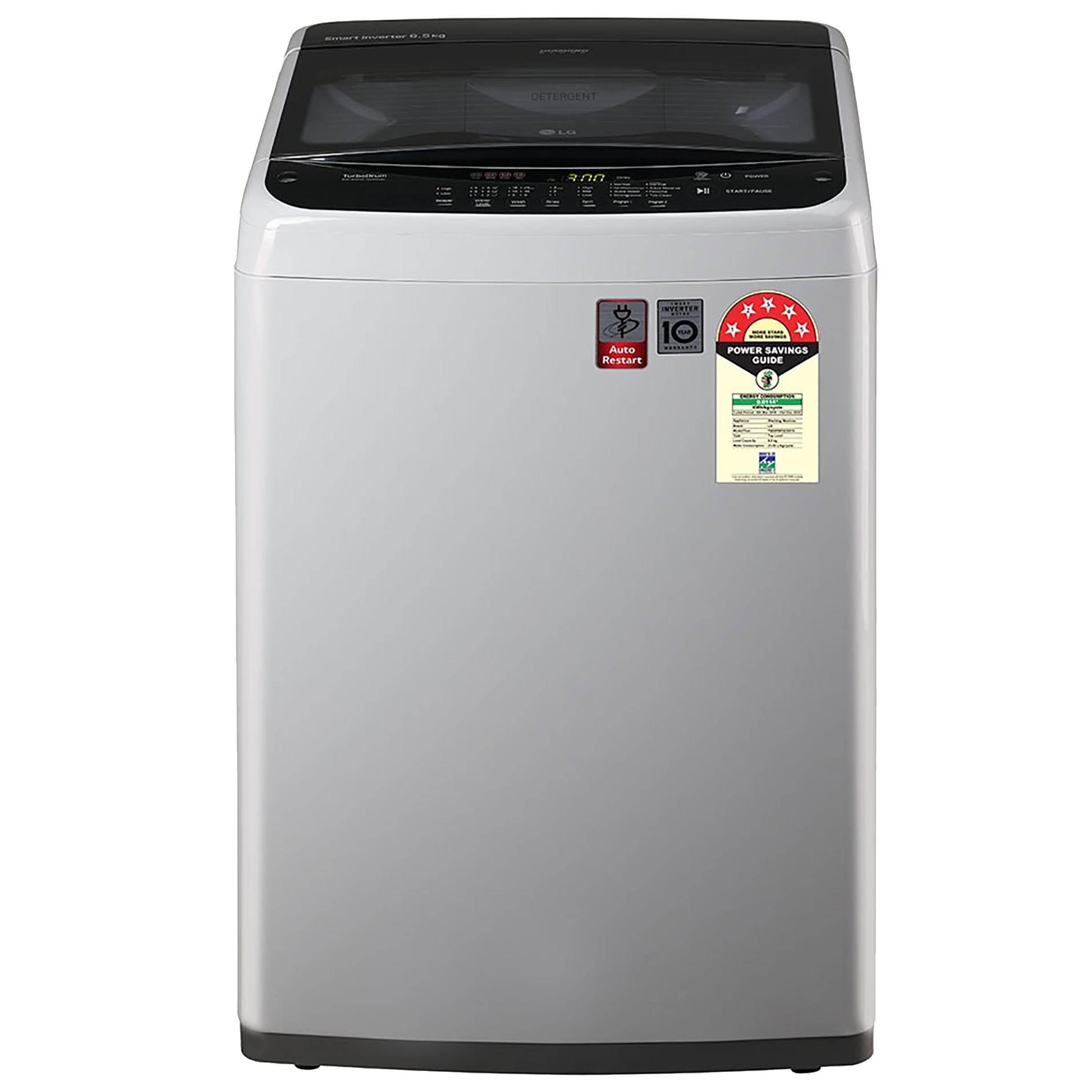 LG 6.5 kg 5 Star Fully Automatic Top Load Washing Machine (Smart Inverter Technology, T65SPSF2Z, Middle Free Silver)_1