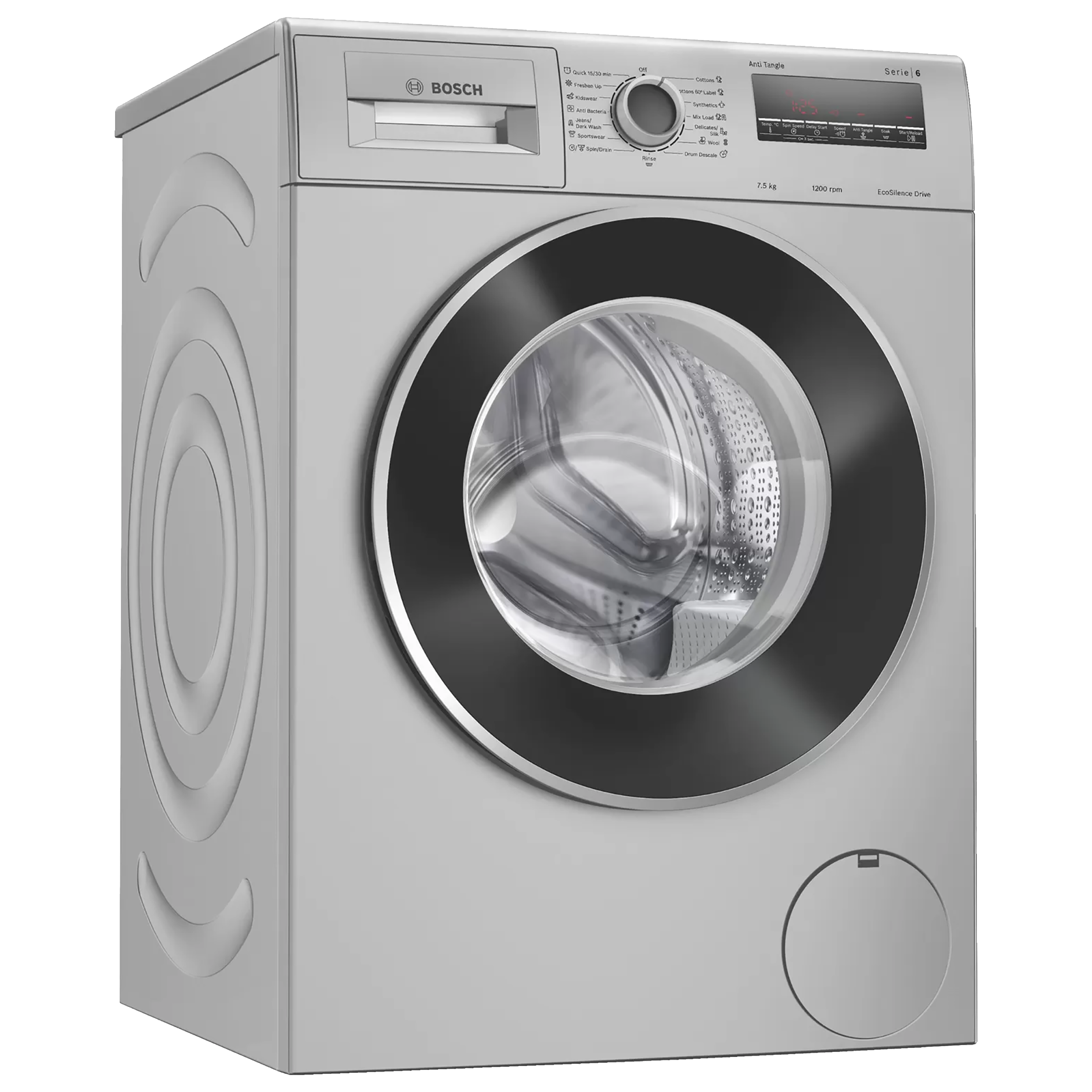 Bosch Serie 6 7.5 kg 5 Star Fully Automatic Front Load Washing Machine (EcoSilence Drive Motor, WAJ2426VIN, Silver)_1