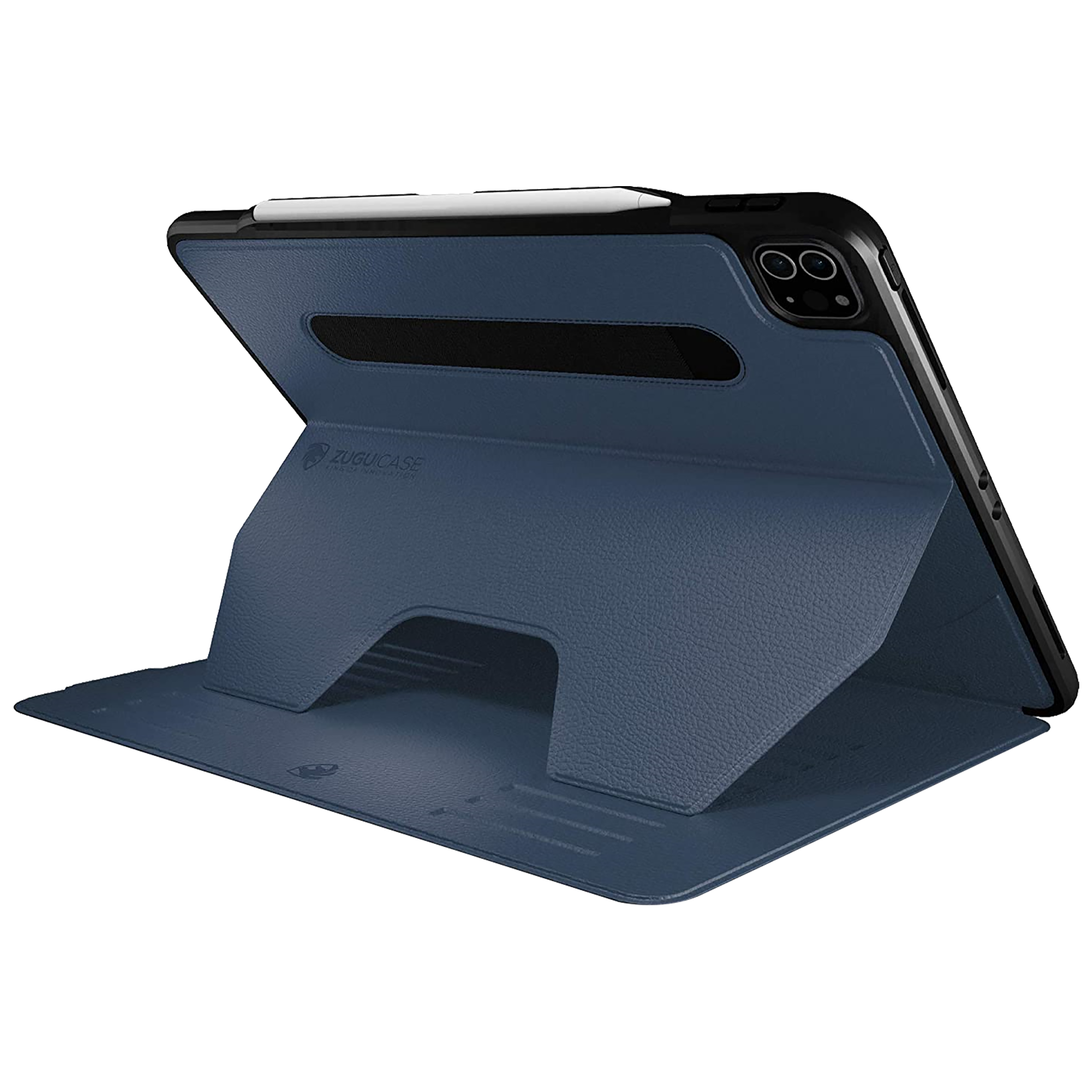 Zugu Alpha Polycarbonate Back Case with Stand For iPad Pro 12.9 (4th Gen) (Soft Microfiber Interior, ZG-20-129NB, Navy Blue)_3