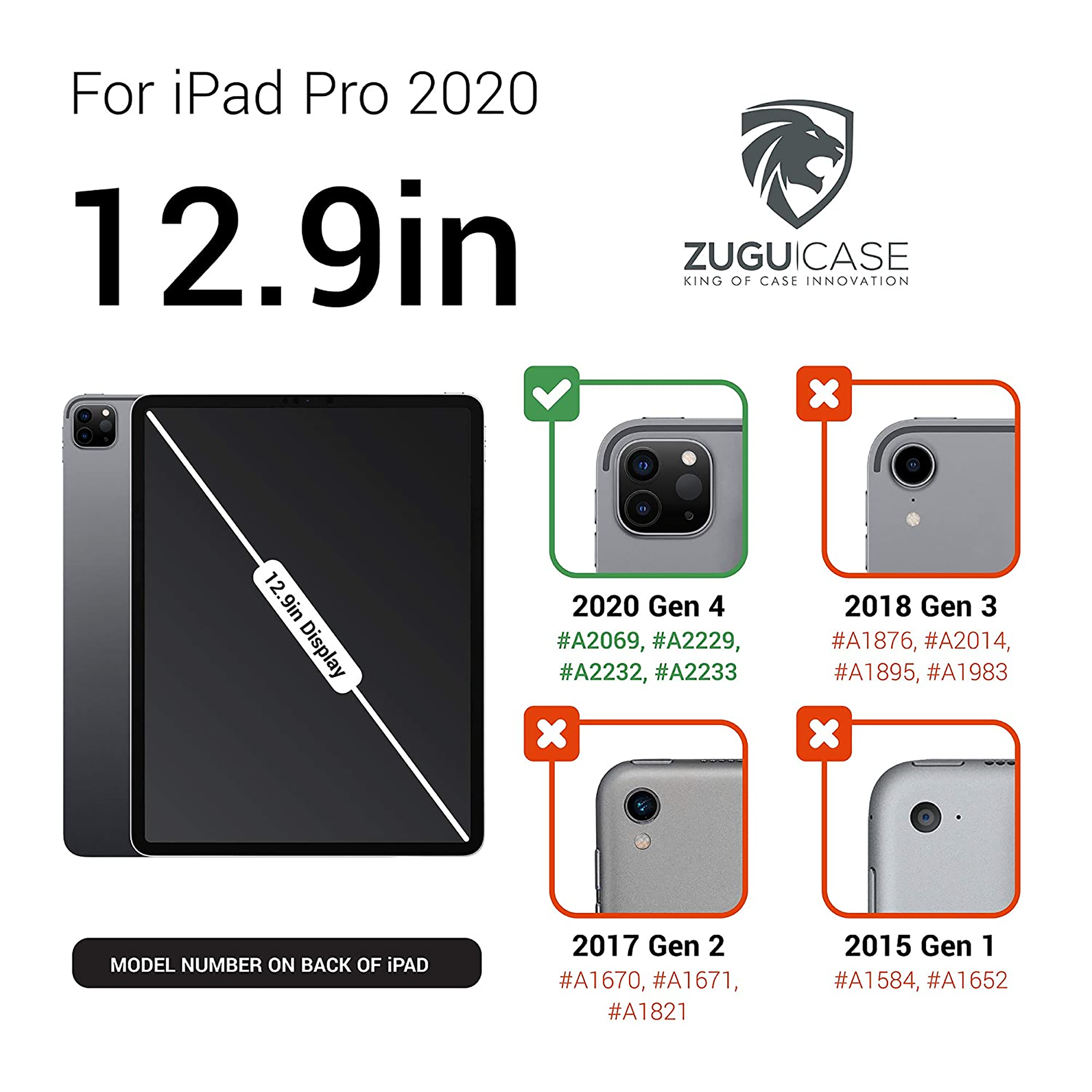 Zugu Alpha Polycarbonate Back Case with Stand For iPad Pro 12.9 (4th Gen) (Soft Microfiber Interior, ZG-20-129NB, Navy Blue)_4