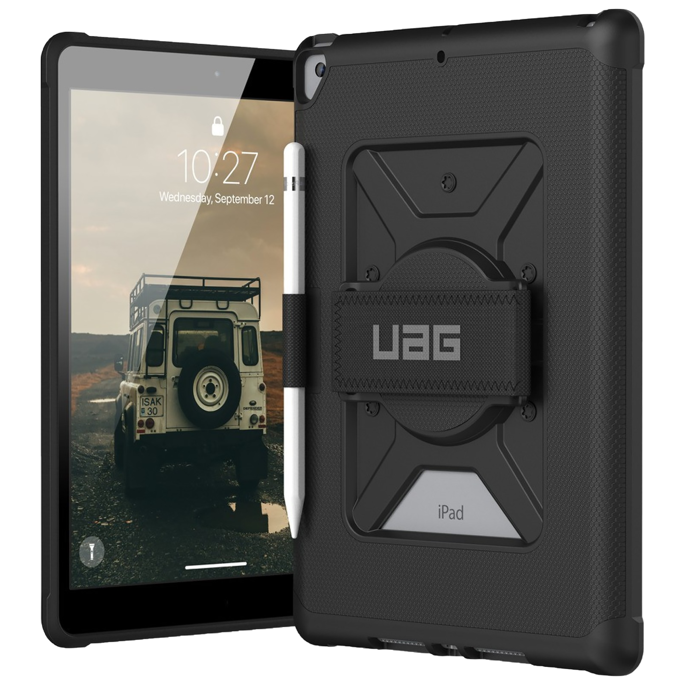 UAG Metropolis Polycarbonate Back Case With Hand Strap For iPad 10.2 Inch (Military Drop Tested Protection, UGMPHS_IPD102_BK, Black)_1