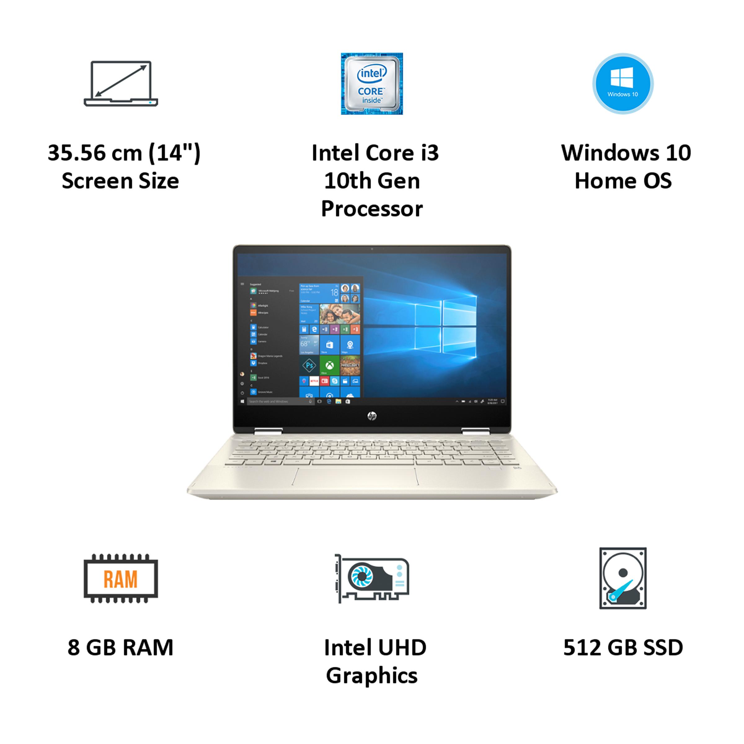 HP Pavilion x360 Convertible 14-dh1502TU (401S0PA#ACJ) Core i3 10th Gen Windows 10 Home 2-in-1 Laptop (8GB RAM, 512GB SSD, Intel UHD Graphics, MS Office, 35.56cm, Warm Gold)_4