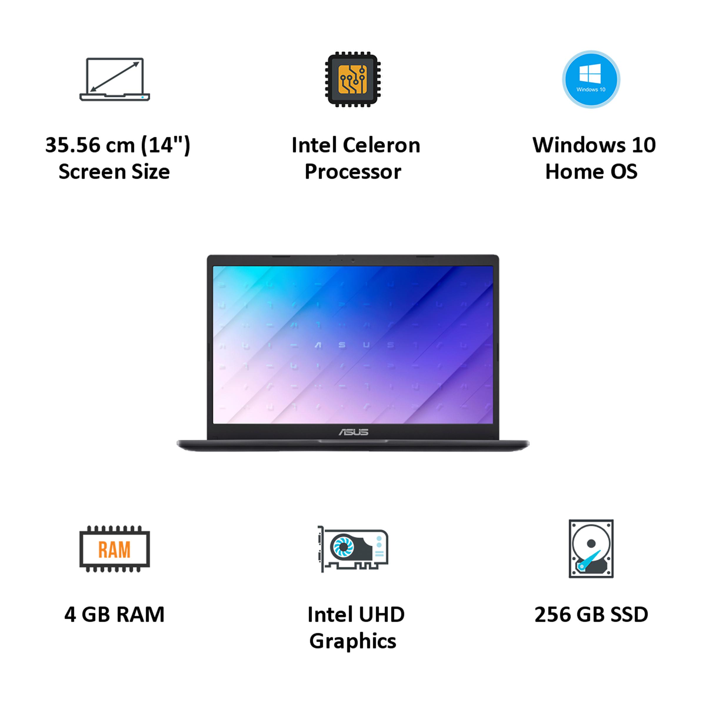 Asus E410MA-EB001T (90NB0Q11-M22940) Celeron Windows 10 Home Laptop (4GB RAM, 256GB SSD, Intel UHD Graphics 600, 35.56cm, Peacock Blue) 5