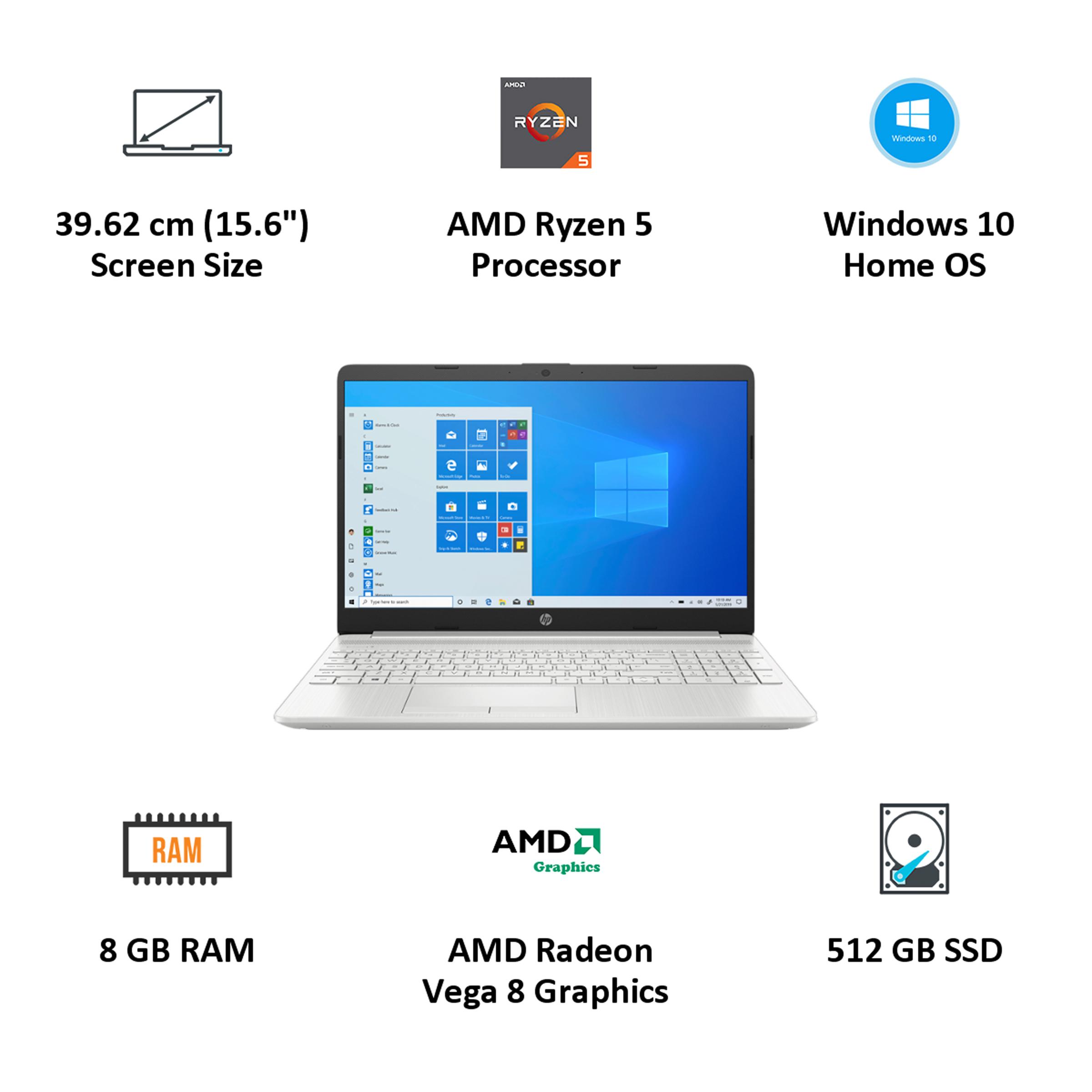 HP 15s-gr0500AU (440L7PA#ACJ) Ryzen 5 Windows 10 Home Laptop (8GB RAM, 512GB SSD, AMD Radeon Vega 8 Graphics, MS Office, 39.62cm, Natural Silver) 4