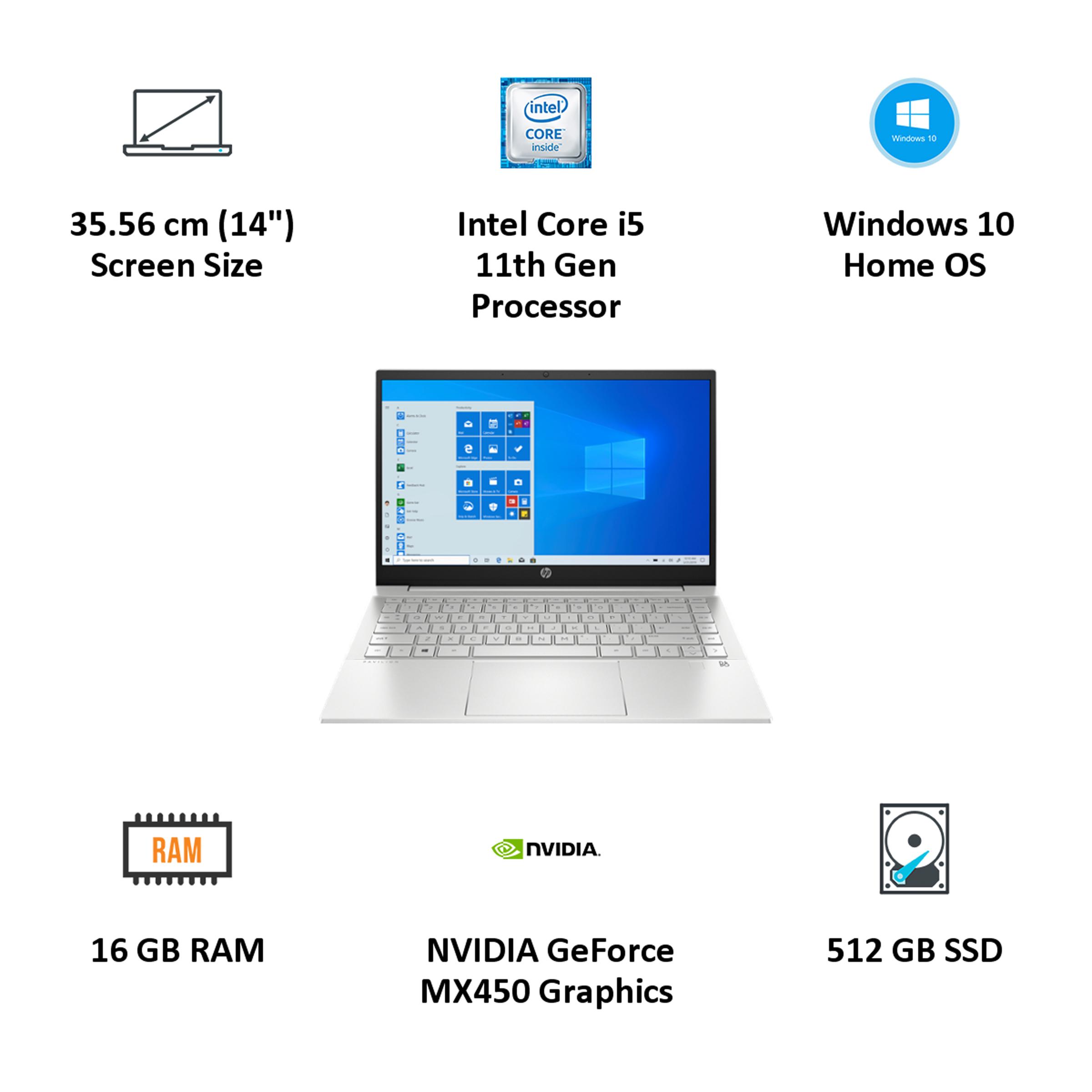 HP Pavilion 14-dv0086TX (397L9PA#ACJ) Core i5 11th Gen Windows 10 Home Laptop (16GB RAM, 512GB SSD, GeForce MX450 + 2GB Graphics, MS Office,... 5